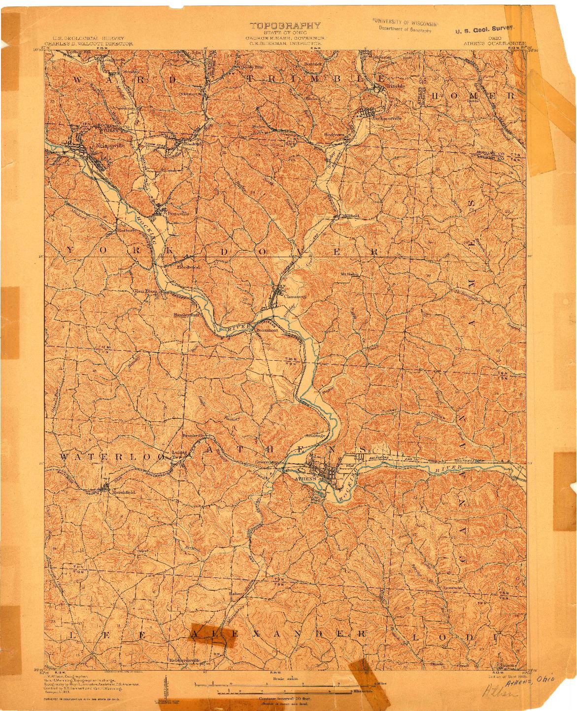 USGS 1:62500-SCALE QUADRANGLE FOR ATHENS, OH 1905