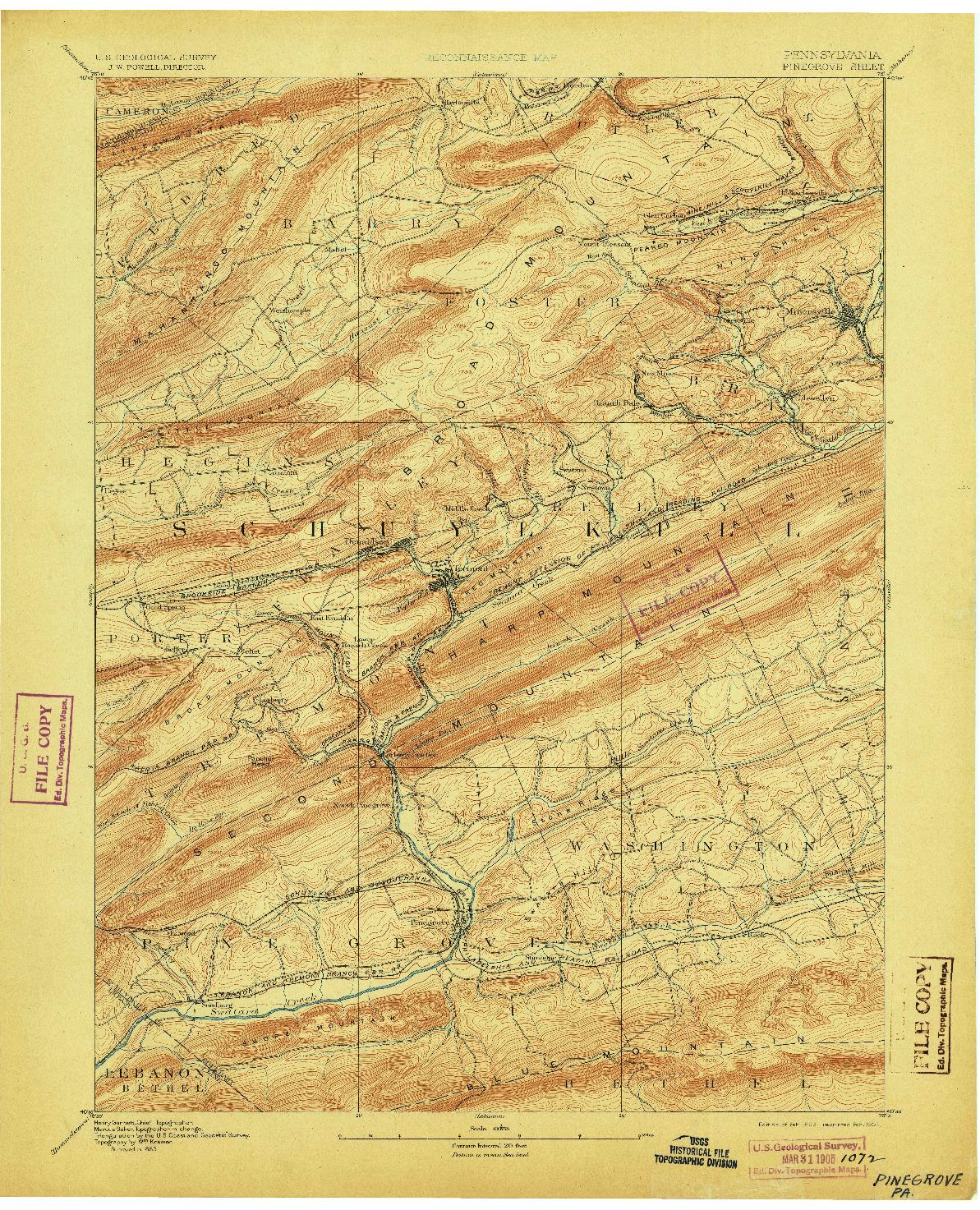 USGS 1:62500-SCALE QUADRANGLE FOR PINEGROVE, PA 1892