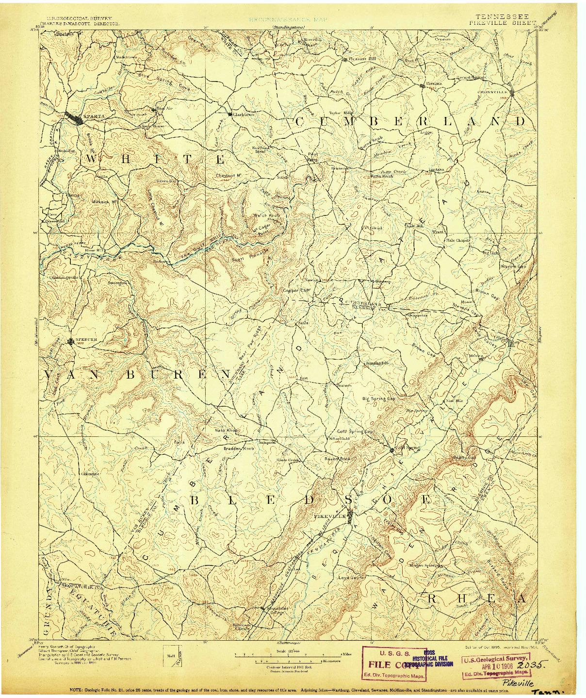 USGS 1:125000-SCALE QUADRANGLE FOR PIKEVILLE, TN 1895