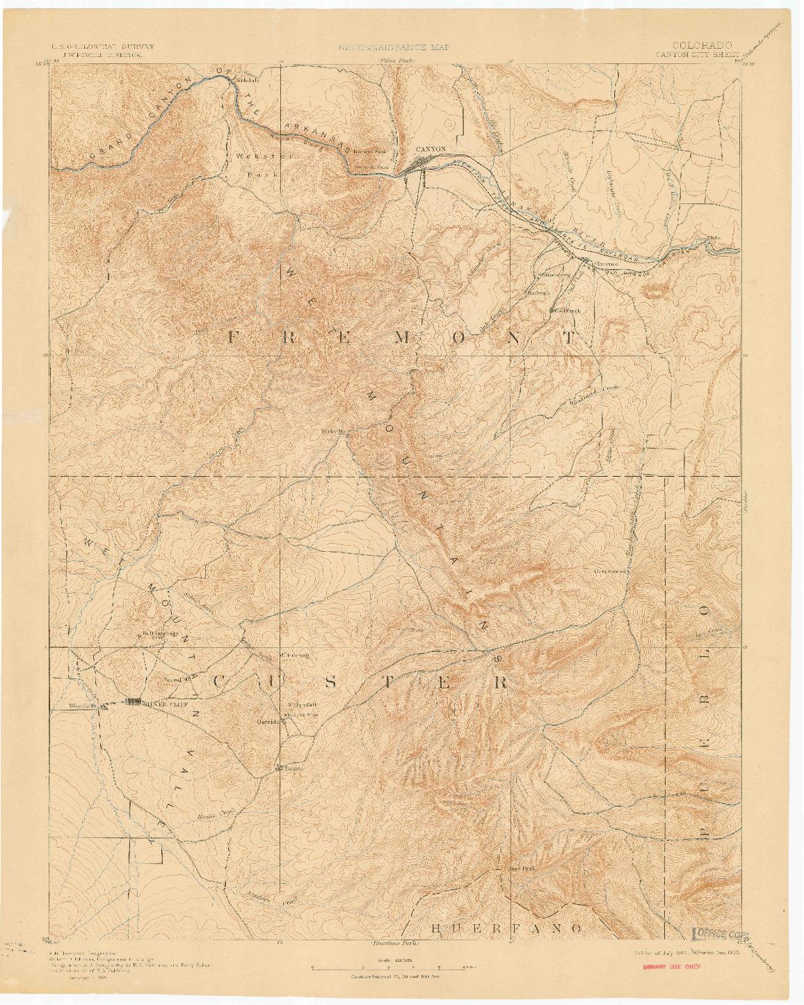 USGS 1:125000-SCALE QUADRANGLE FOR CANON CITY, CO 1892