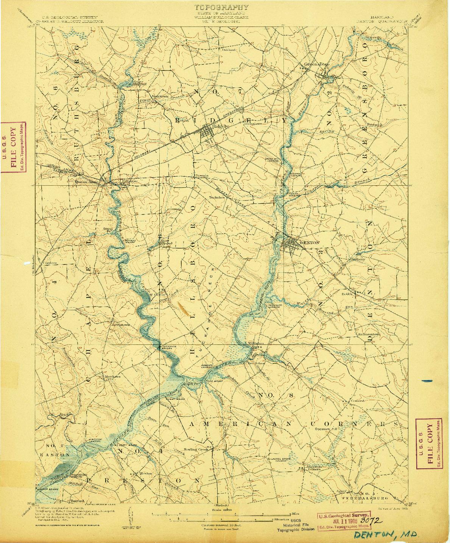 USGS 1:62500-SCALE QUADRANGLE FOR DENTON, MD 1905