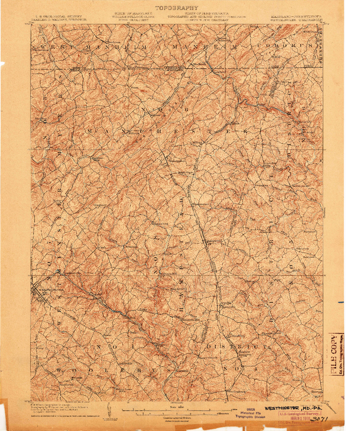 USGS 1:62500-SCALE QUADRANGLE FOR WESTMINSTER, MD 1905