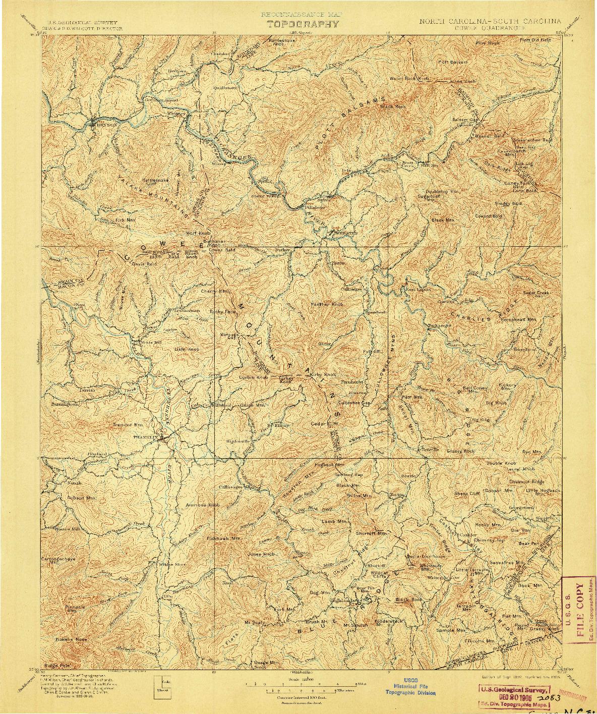 USGS 1:125000-SCALE QUADRANGLE FOR COWEE, NC 1897