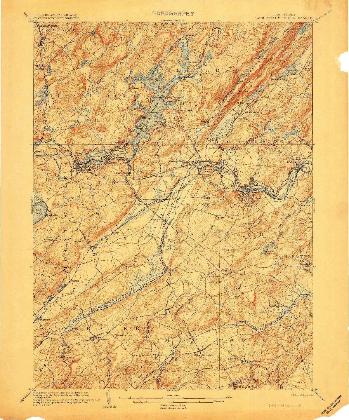 USGS 1:62500-SCALE QUADRANGLE FOR LAKE HOPATCONG, NJ 1905