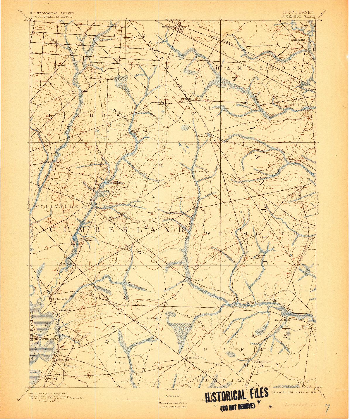 USGS 1:62500-SCALE QUADRANGLE FOR TUCKAHOE, NJ 1893