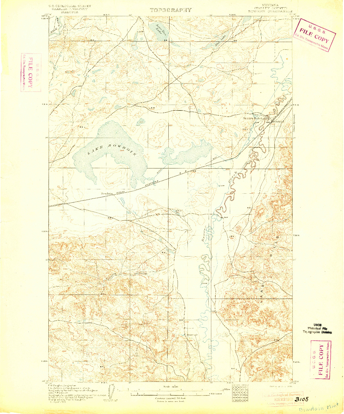 USGS 1:62500-SCALE QUADRANGLE FOR BOWDOIN, MT 1905