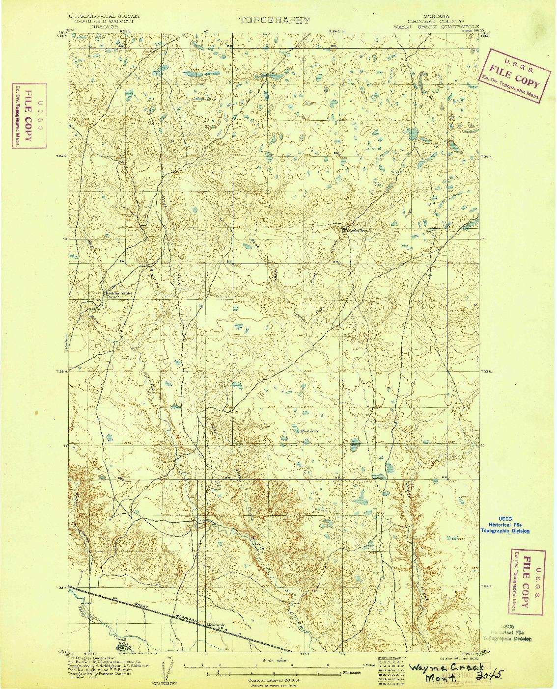 USGS 1:62500-SCALE QUADRANGLE FOR WAYNE CREEK, MT 1905