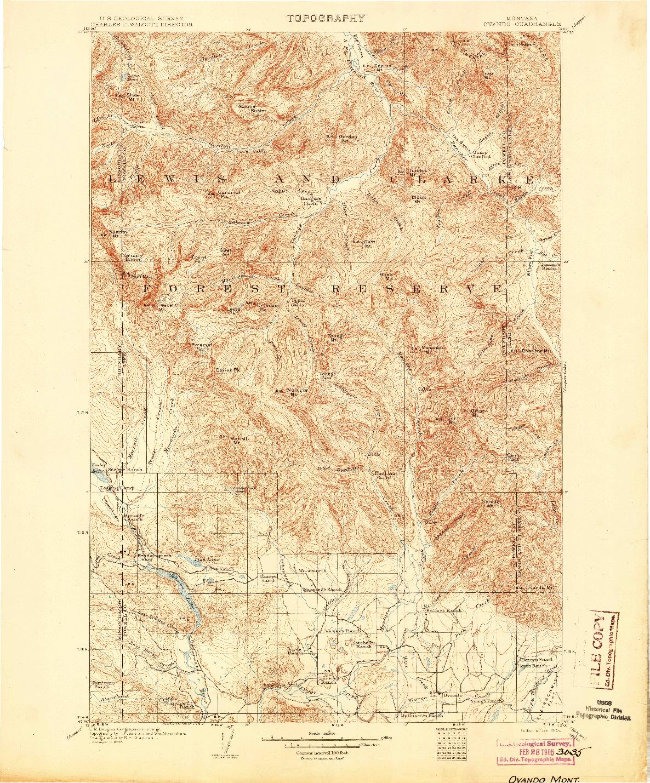 USGS 1:125000-SCALE QUADRANGLE FOR OVANDO, MT 1905