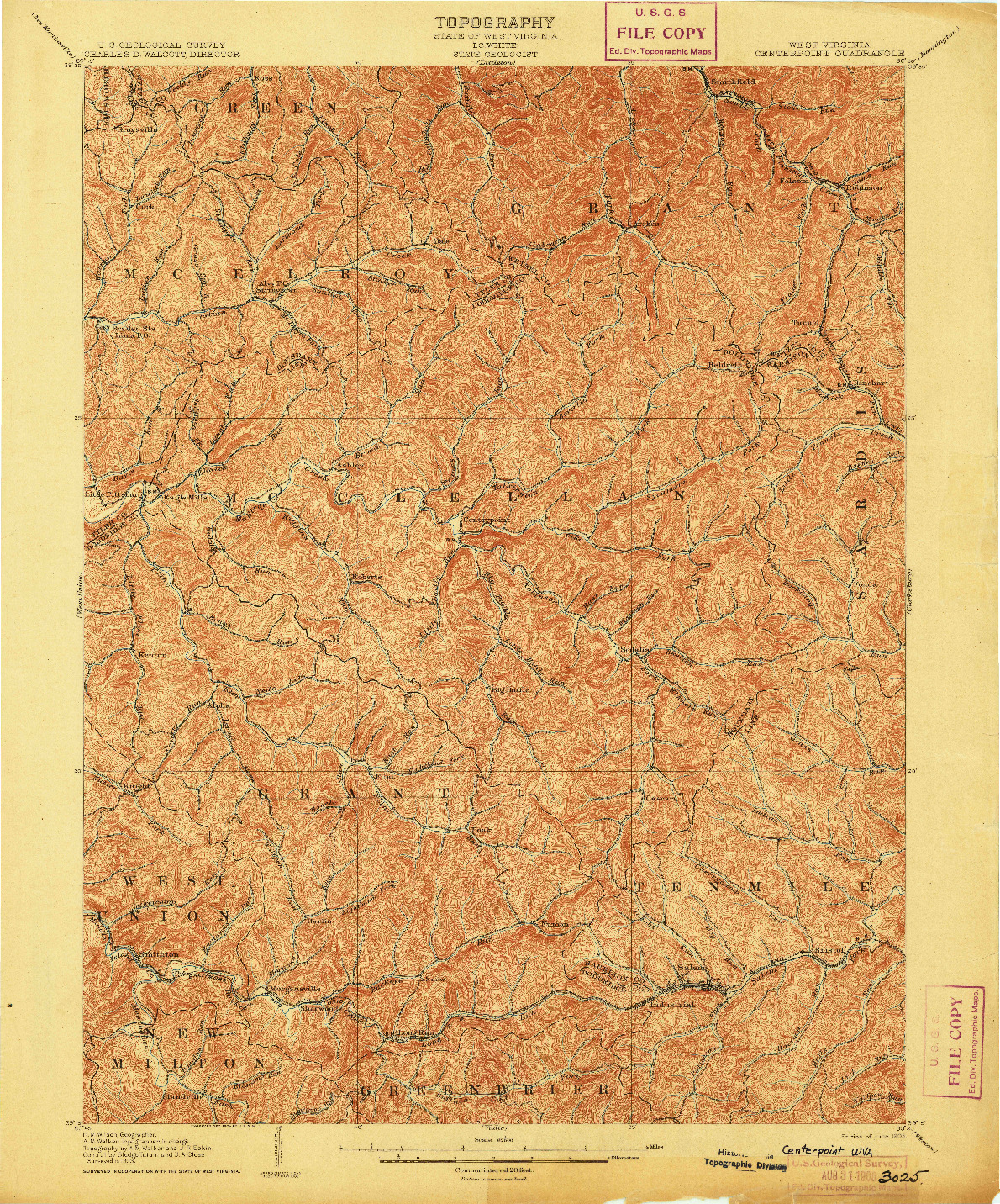 USGS 1:62500-SCALE QUADRANGLE FOR CENTERPOINT, WV 1905