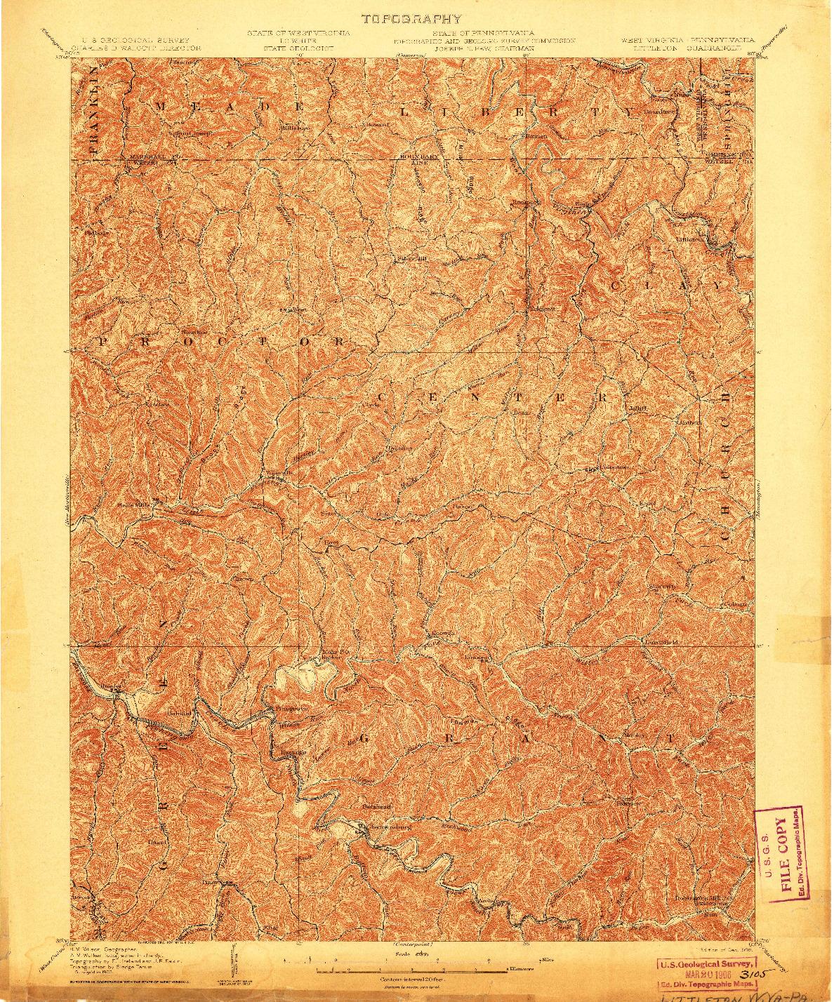 USGS 1:62500-SCALE QUADRANGLE FOR LITTLETON, WV 1905