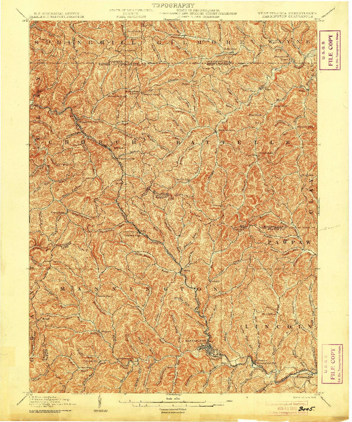 USGS 1:62500-SCALE QUADRANGLE FOR MANNINGTON, WV 1905