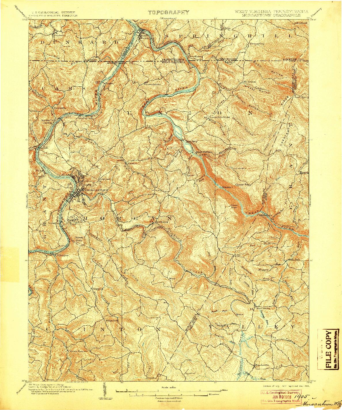 USGS 1:62500-SCALE QUADRANGLE FOR MORGANTOWN, WV 1902