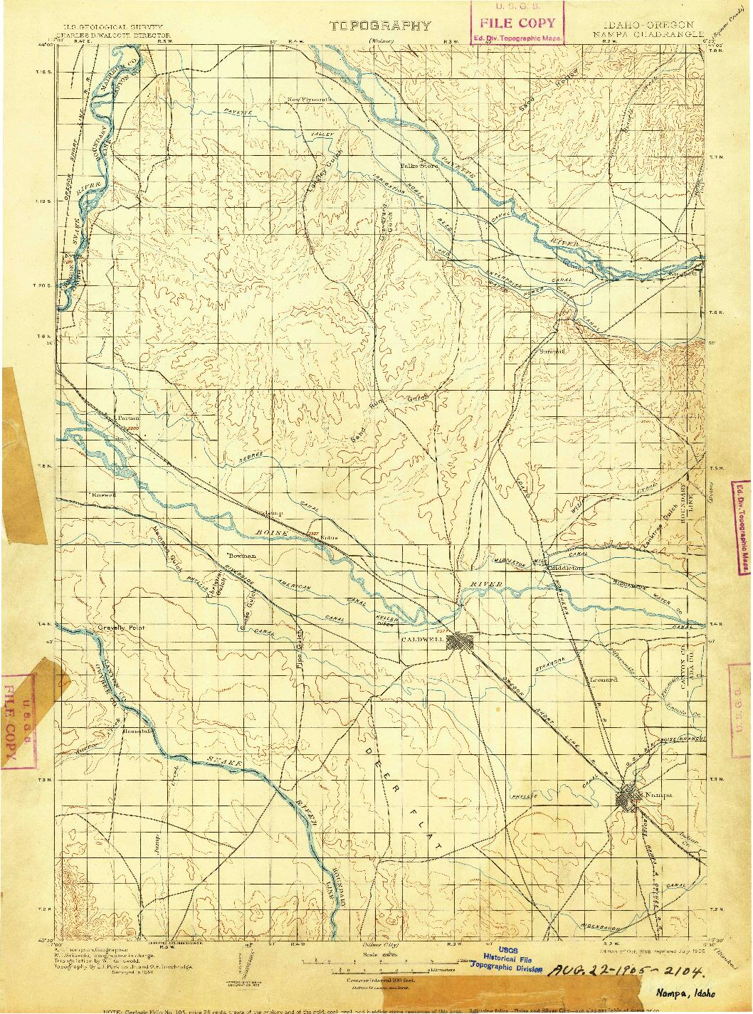USGS 1:125000-SCALE QUADRANGLE FOR NAMPA, ID 1898