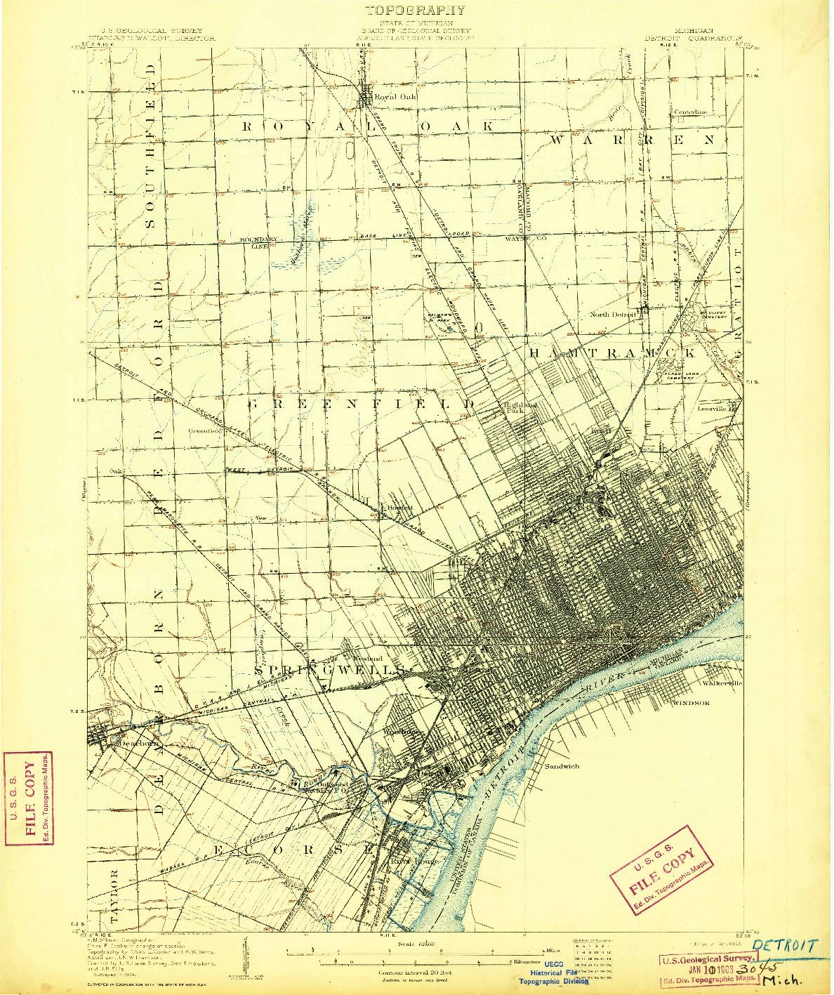 USGS 1:62500-SCALE QUADRANGLE FOR DETROIT, MI 1905