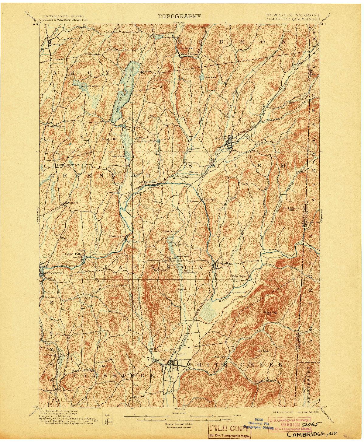 USGS 1:62500-SCALE QUADRANGLE FOR CAMBRIDGE, NY 1901