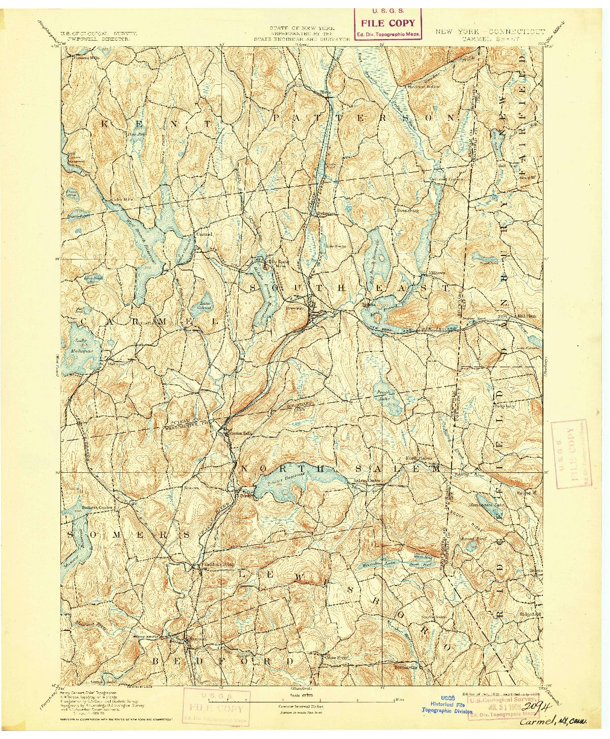 USGS 1:62500-SCALE QUADRANGLE FOR CARMEL, NY 1894