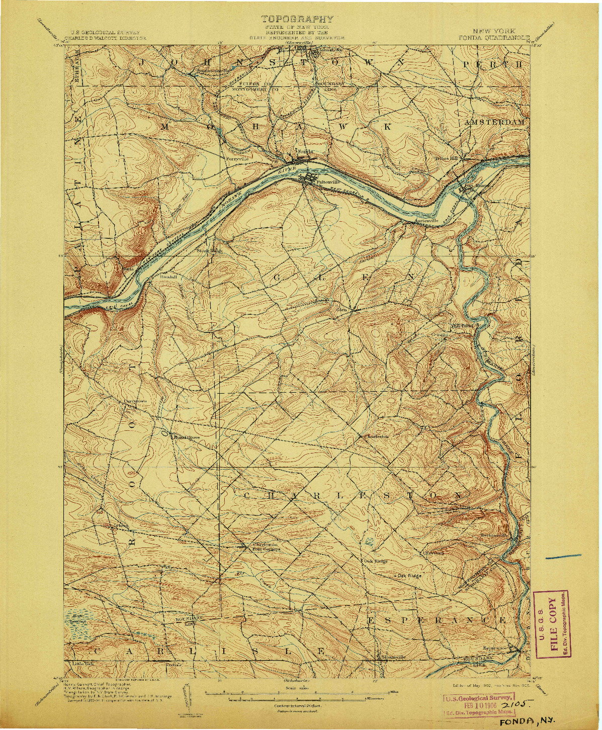 USGS 1:62500-SCALE QUADRANGLE FOR FONDA, NY 1902
