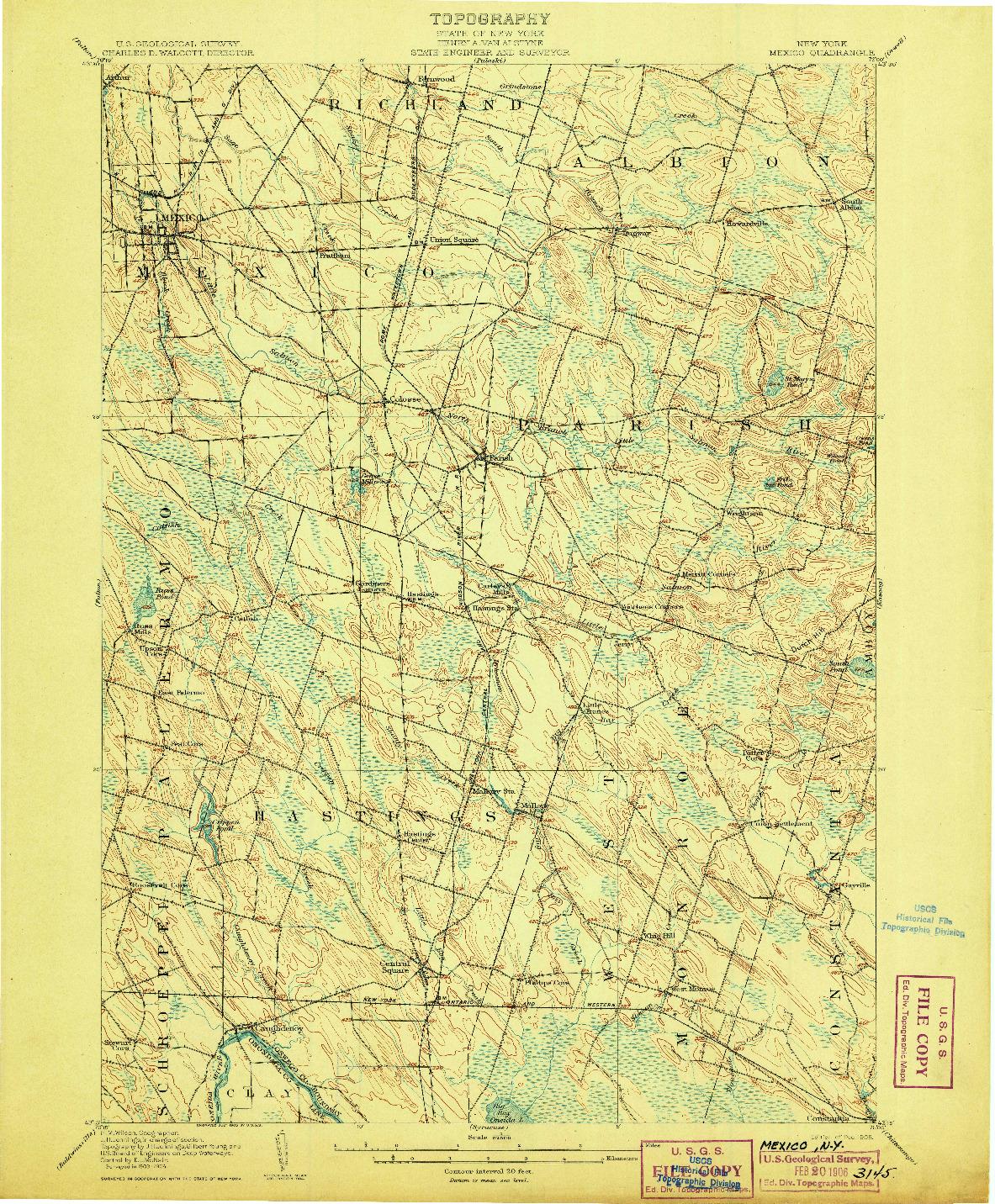 USGS 1:62500-SCALE QUADRANGLE FOR MEXICO, NY 1905