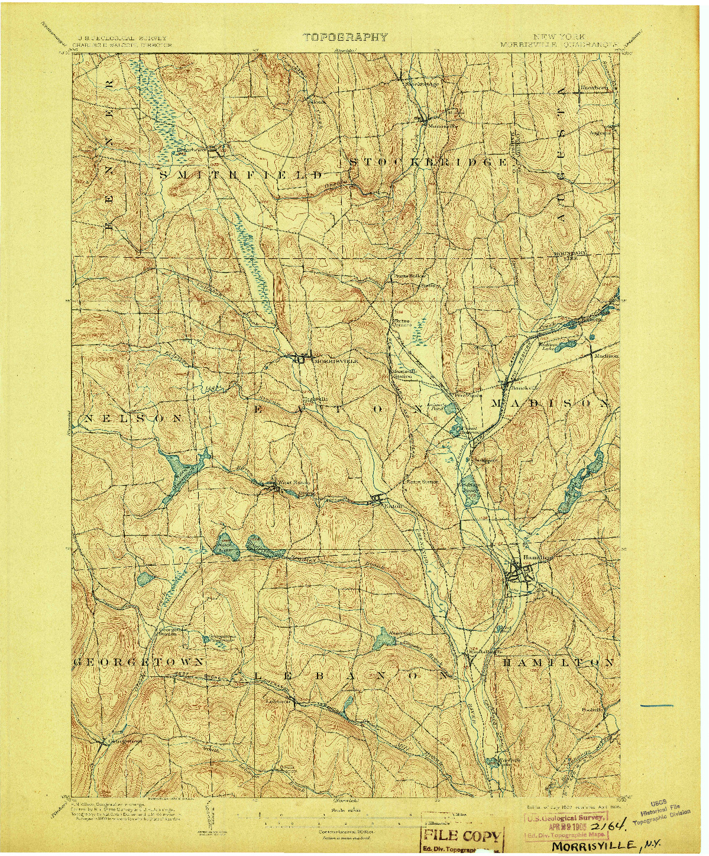 USGS 1:62500-SCALE QUADRANGLE FOR MORRISVILLE, NY 1902