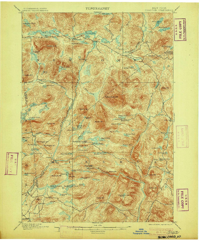 USGS 1:62500-SCALE QUADRANGLE FOR NEWCOMB, NY 1901