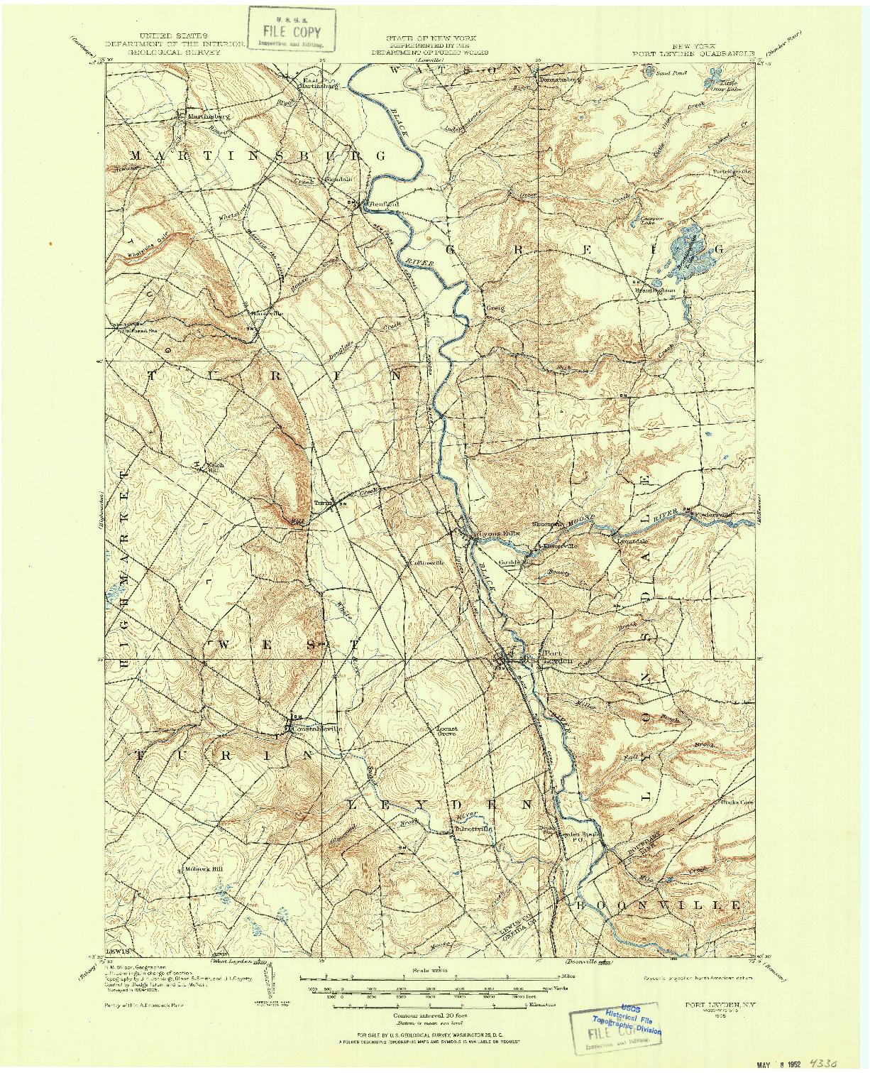 USGS 1:62500-SCALE QUADRANGLE FOR PORT LEYDEN, NY 1905