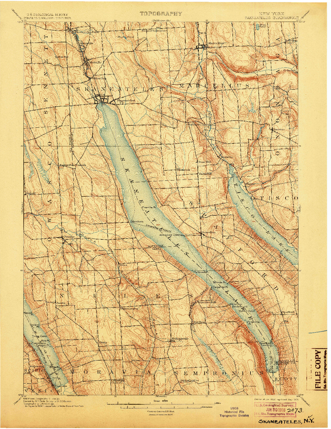 USGS 1:62500-SCALE QUADRANGLE FOR SKANEATELES, NY 1902