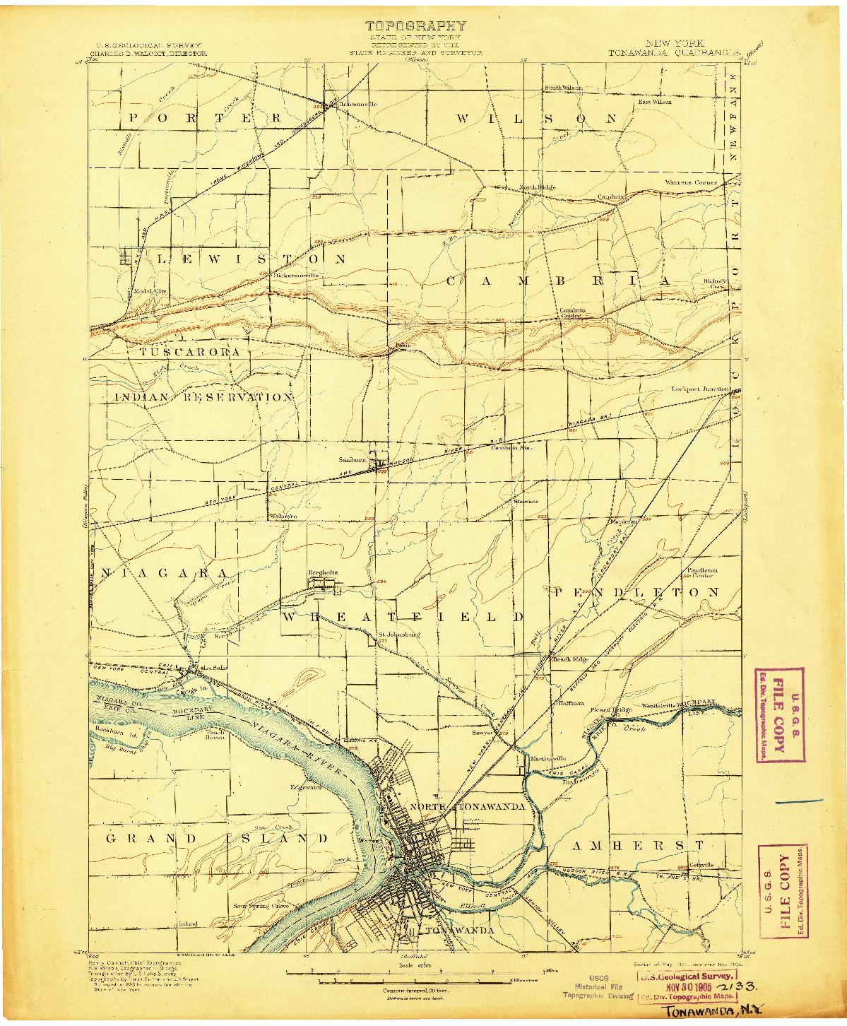 USGS 1:62500-SCALE QUADRANGLE FOR TONAWANDA, NY 1901