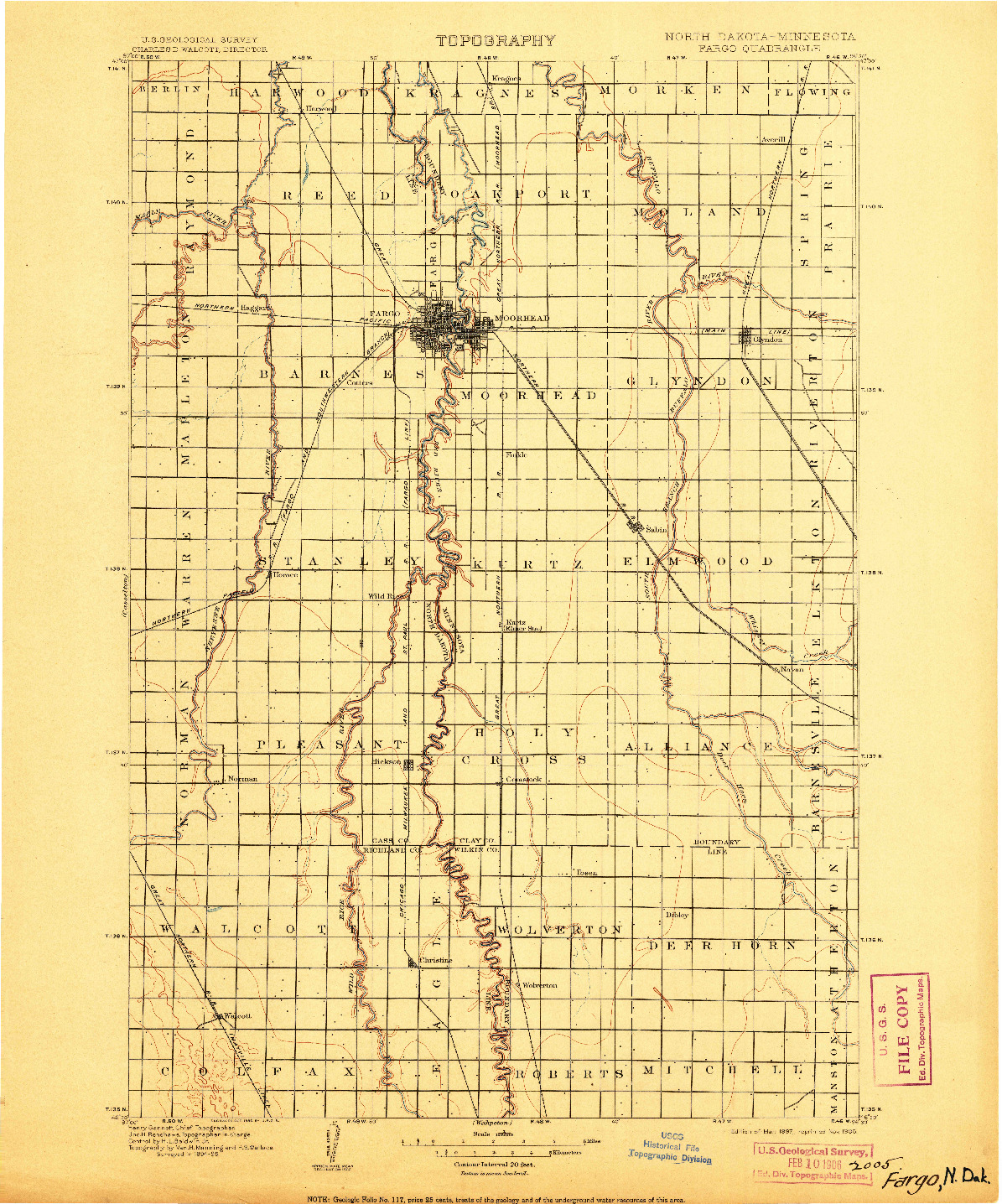 USGS 1:125000-SCALE QUADRANGLE FOR FARGO, ND 1897