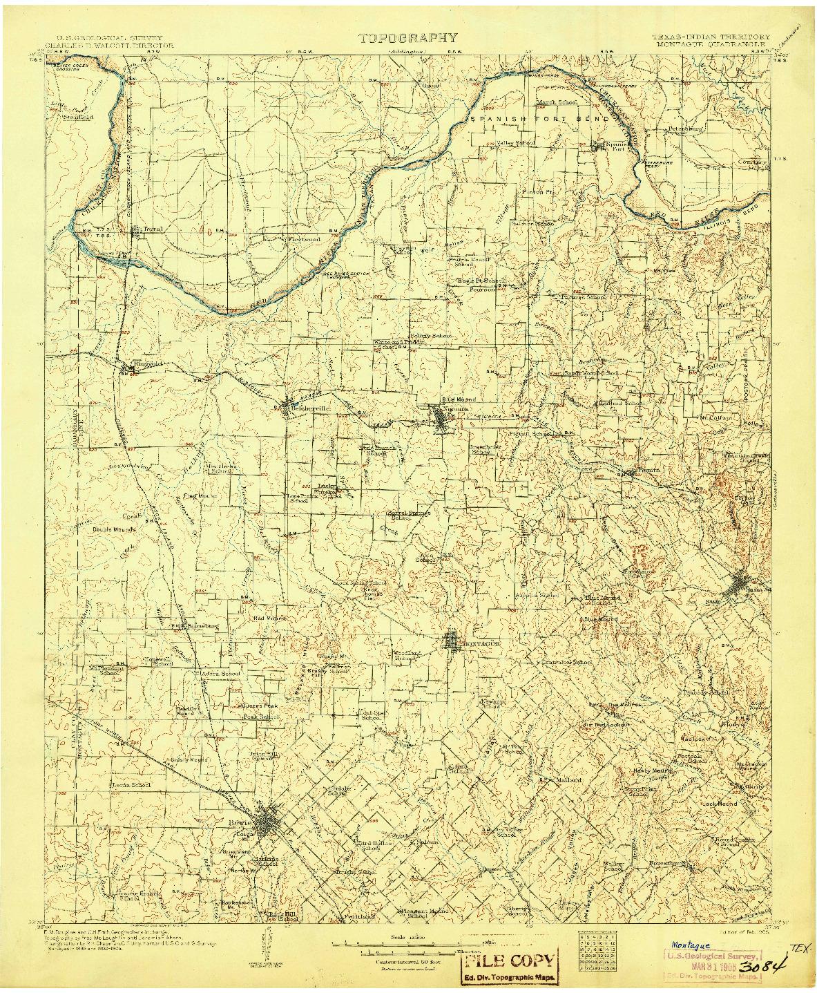 USGS 1:125000-SCALE QUADRANGLE FOR MONTAGUE, TX 1905