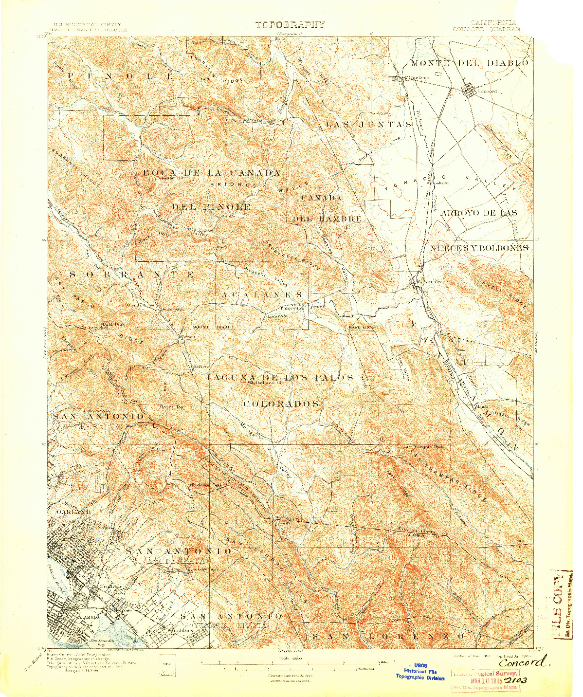 USGS 1:62500-SCALE QUADRANGLE FOR CONCORD, CA 1897