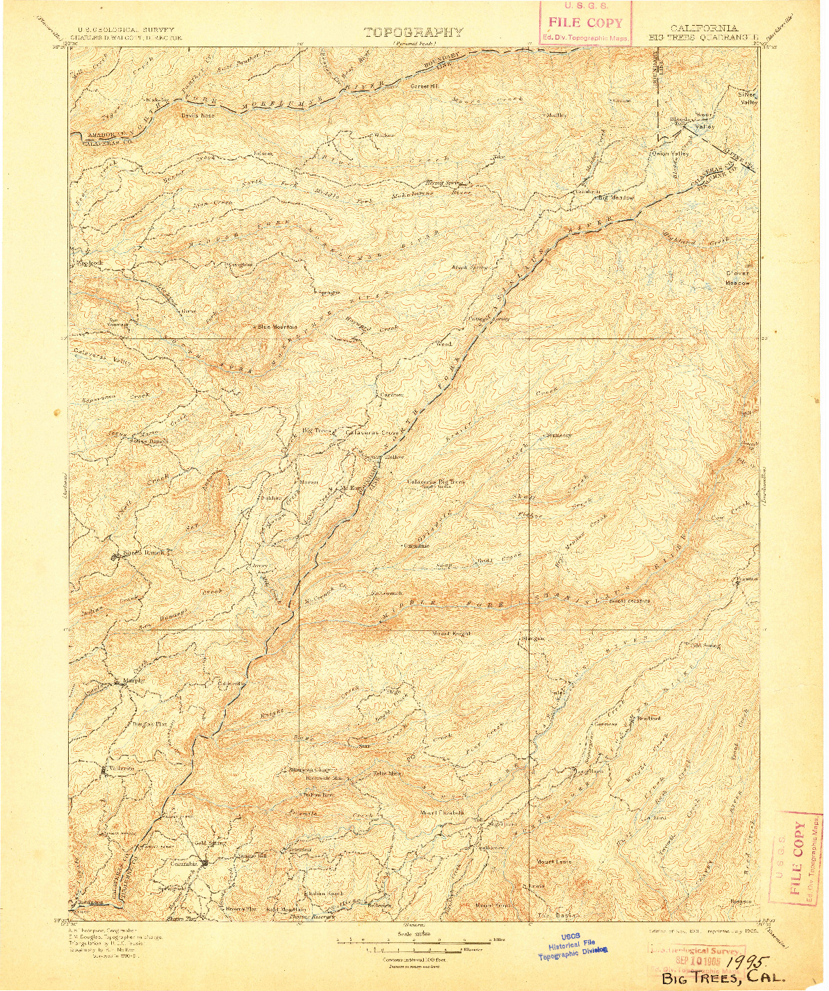 USGS 1:125000-SCALE QUADRANGLE FOR BIG TREES, CA 1901