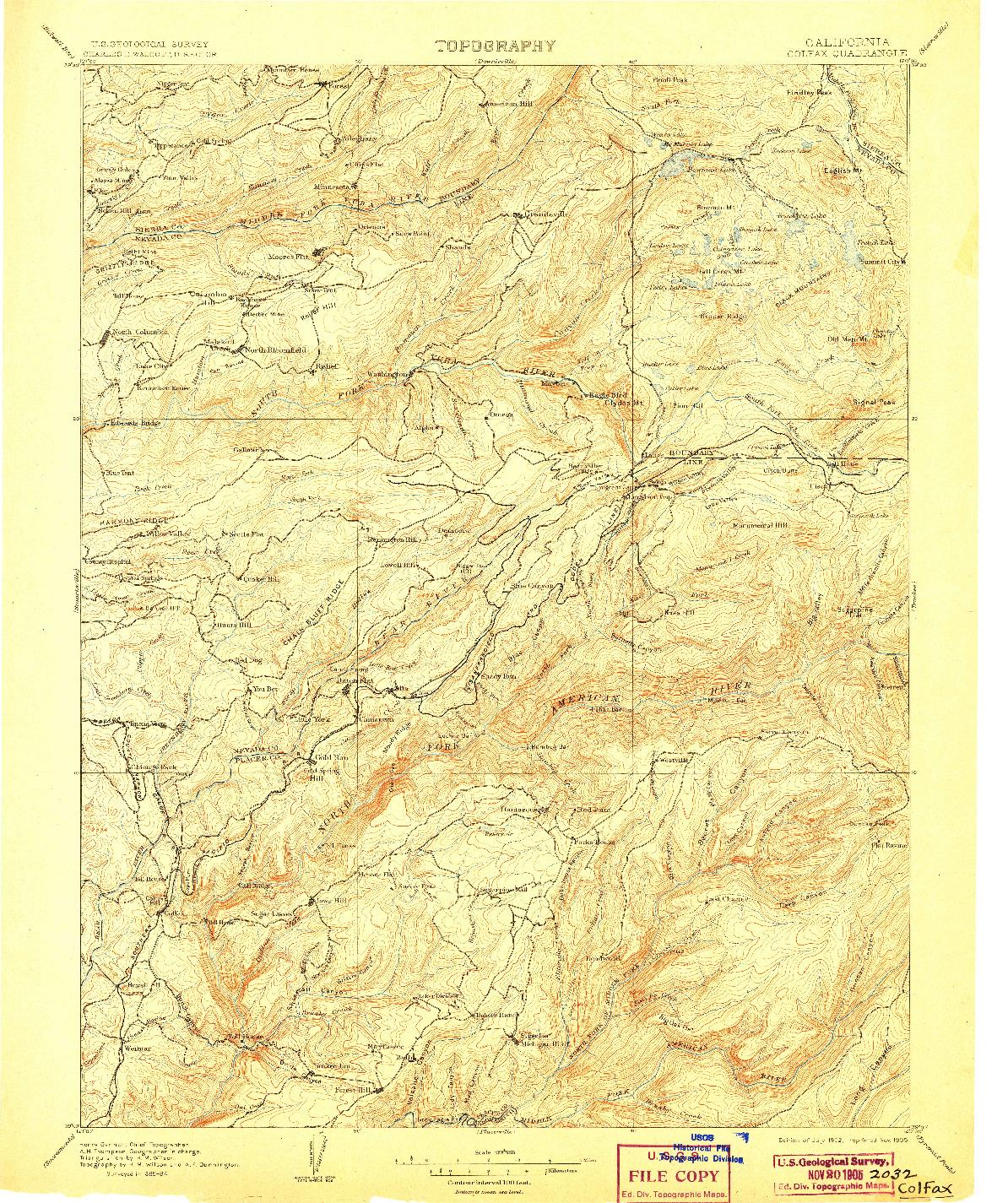USGS 1:125000-SCALE QUADRANGLE FOR COLFAX, CA 1902