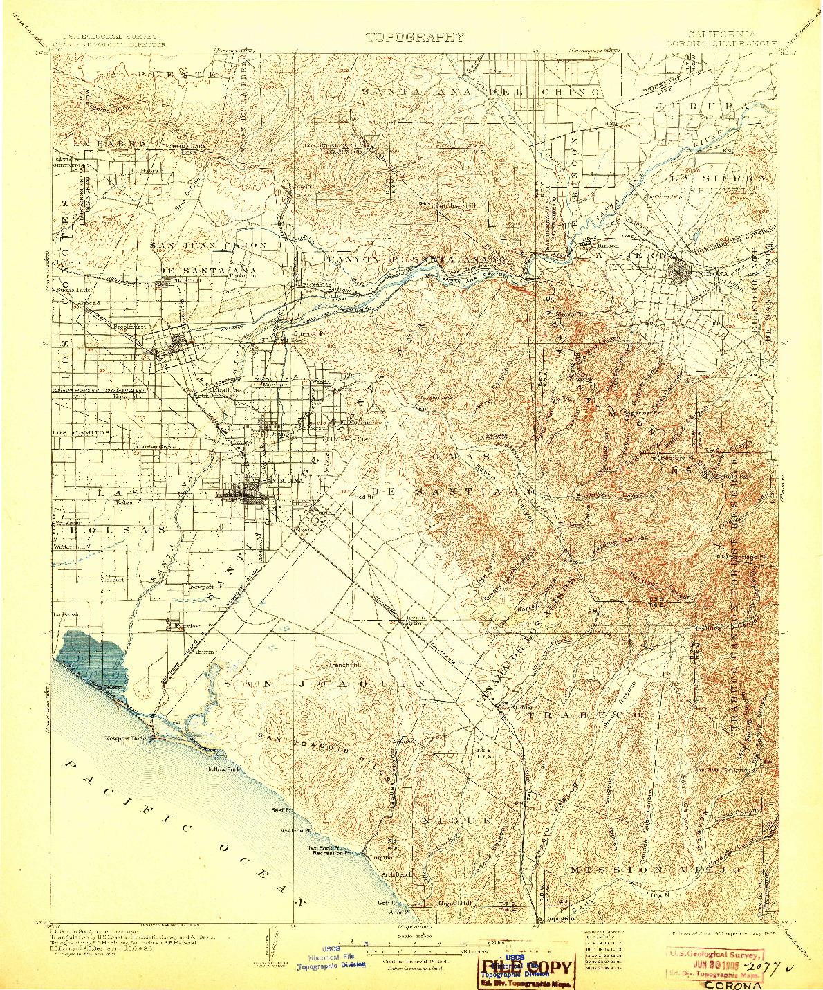 USGS 1:125000-SCALE QUADRANGLE FOR CORONA, CA 1902
