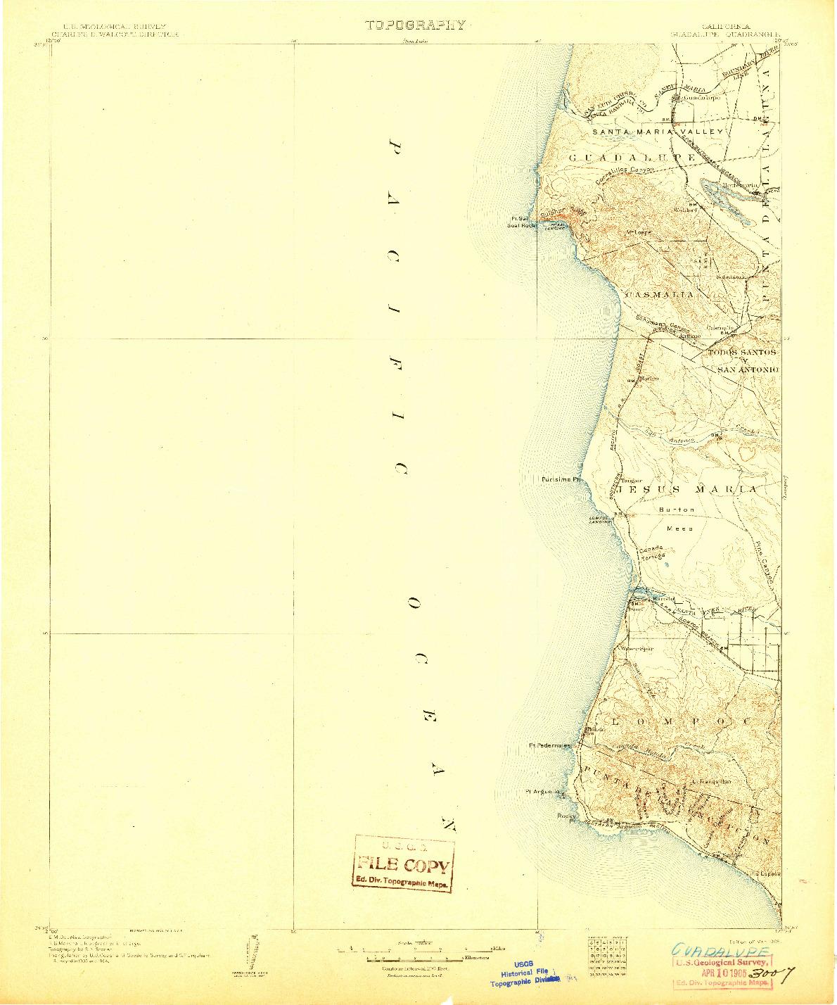 USGS 1:125000-SCALE QUADRANGLE FOR GUADALUPE, CA 1905