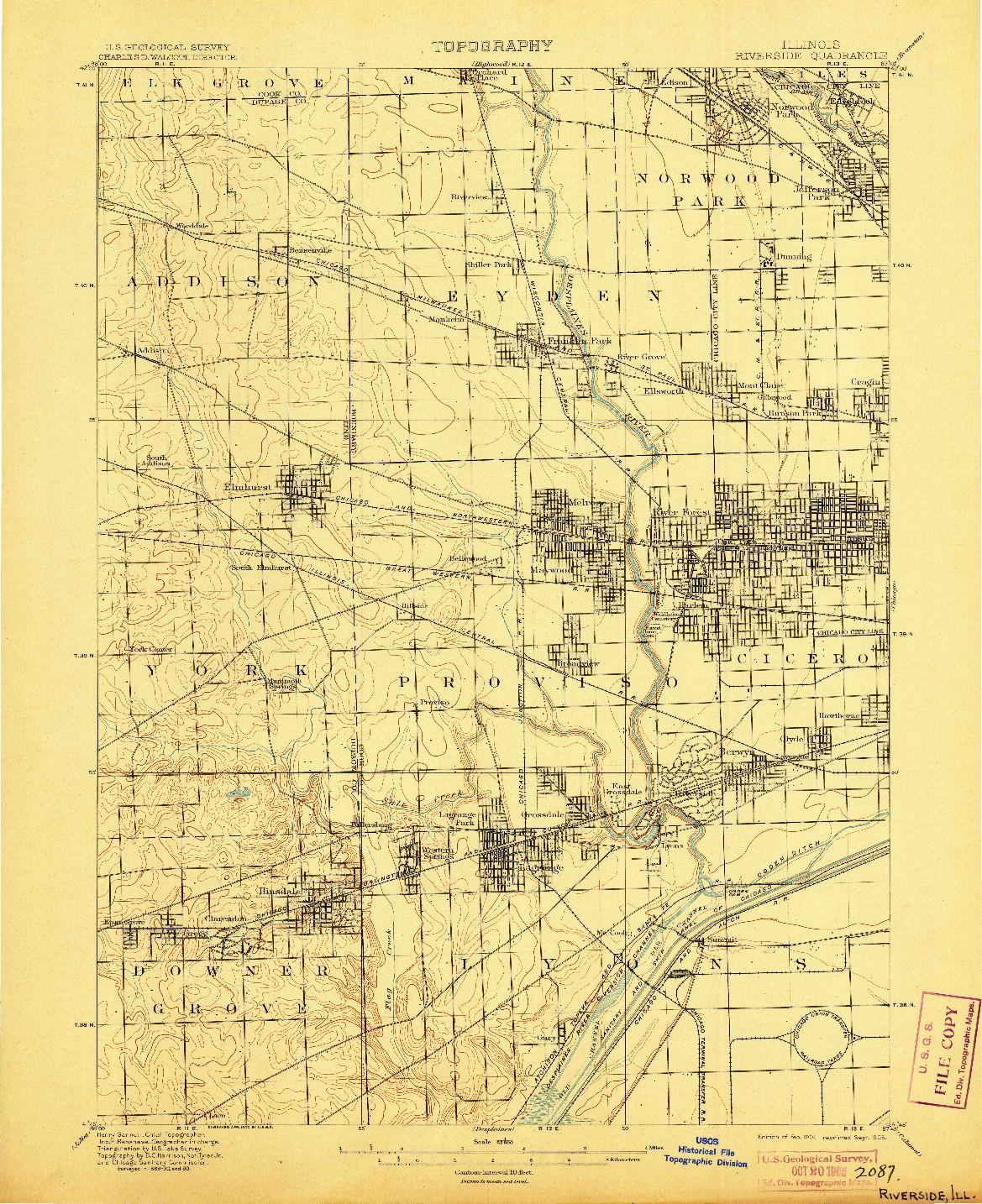 USGS 1:62500-SCALE QUADRANGLE FOR RIVERSIDE, IL 1901