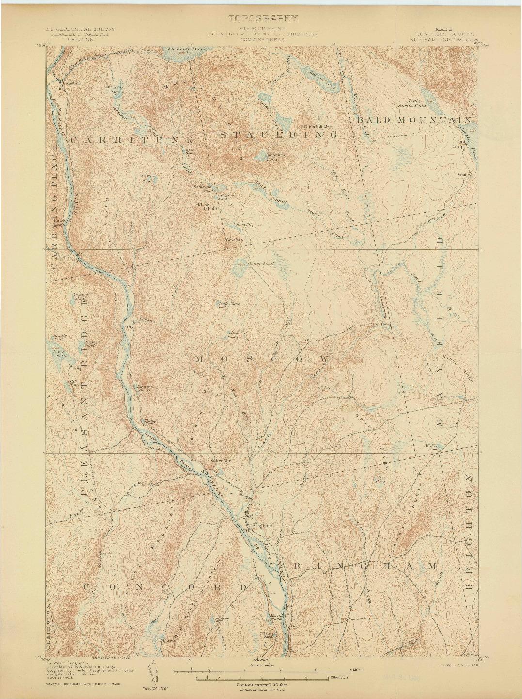 USGS 1:62500-SCALE QUADRANGLE FOR BINGHAM, ME 1905