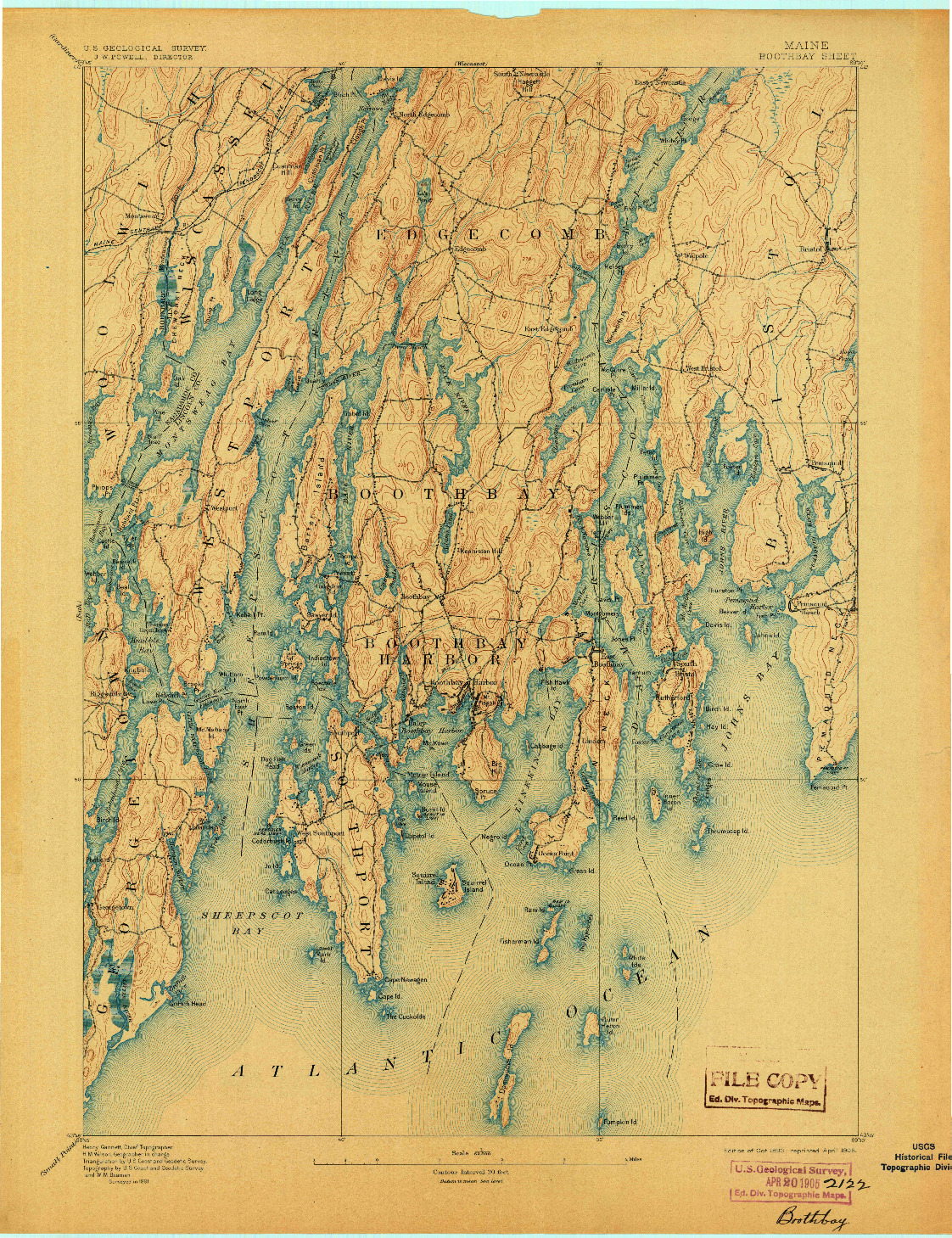 USGS 1:62500-SCALE QUADRANGLE FOR BOOTHBAY, ME 1893
