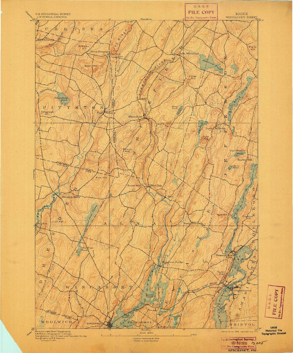 USGS 1:62500-SCALE QUADRANGLE FOR WISCASSET, ME 1893