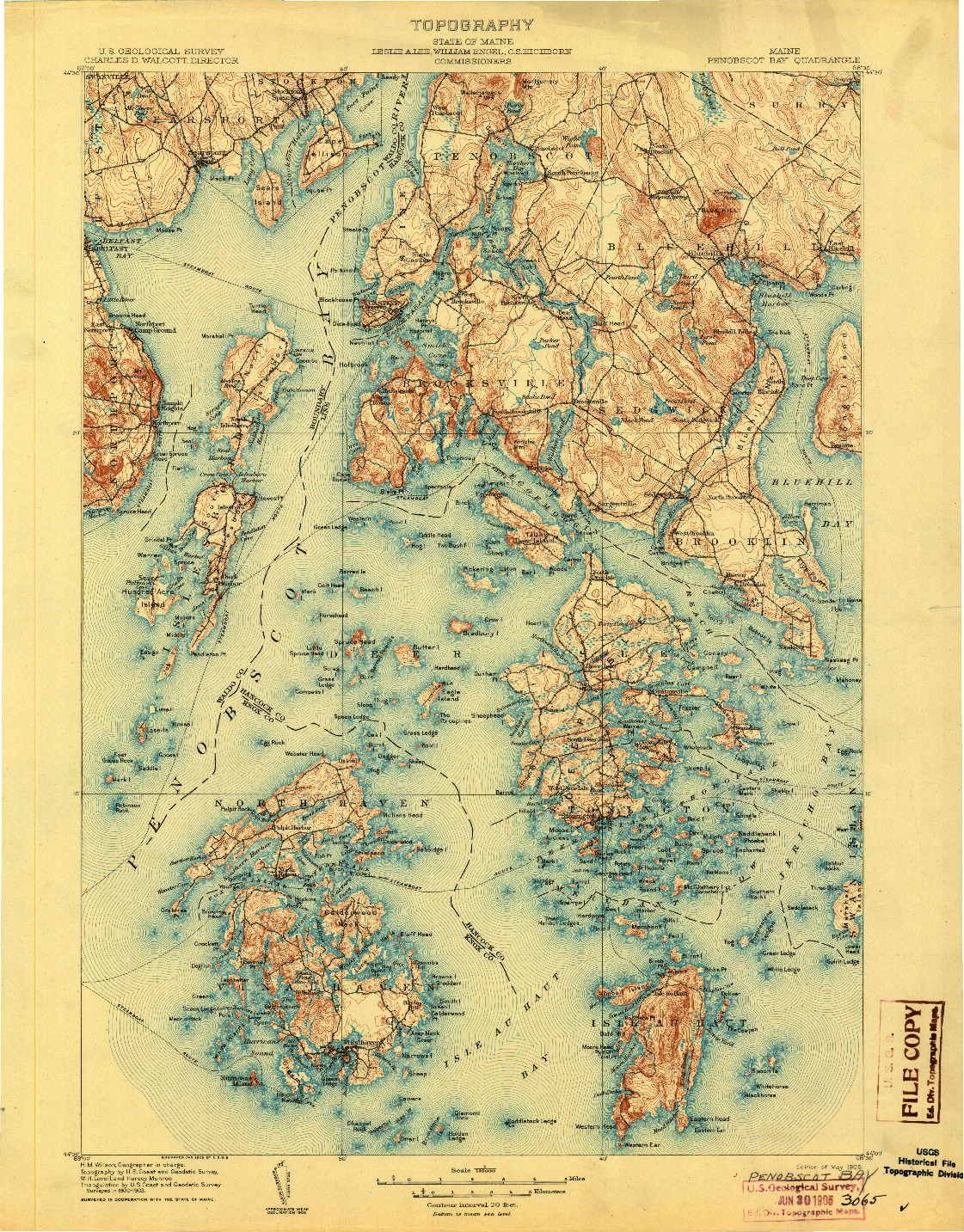 USGS 1:125000-SCALE QUADRANGLE FOR PENOBSCOT BAY, ME 1905