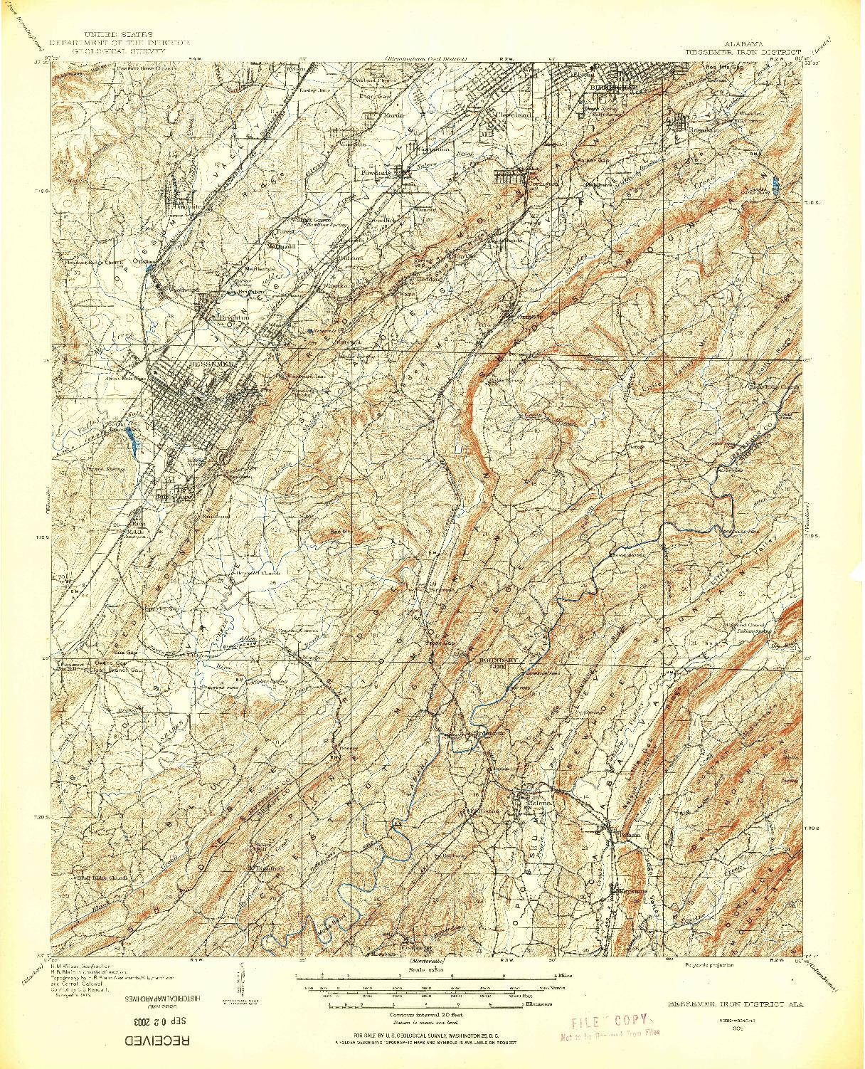USGS 1:62500-SCALE QUADRANGLE FOR BESSEMER IRON DISTRICT, AL 1905
