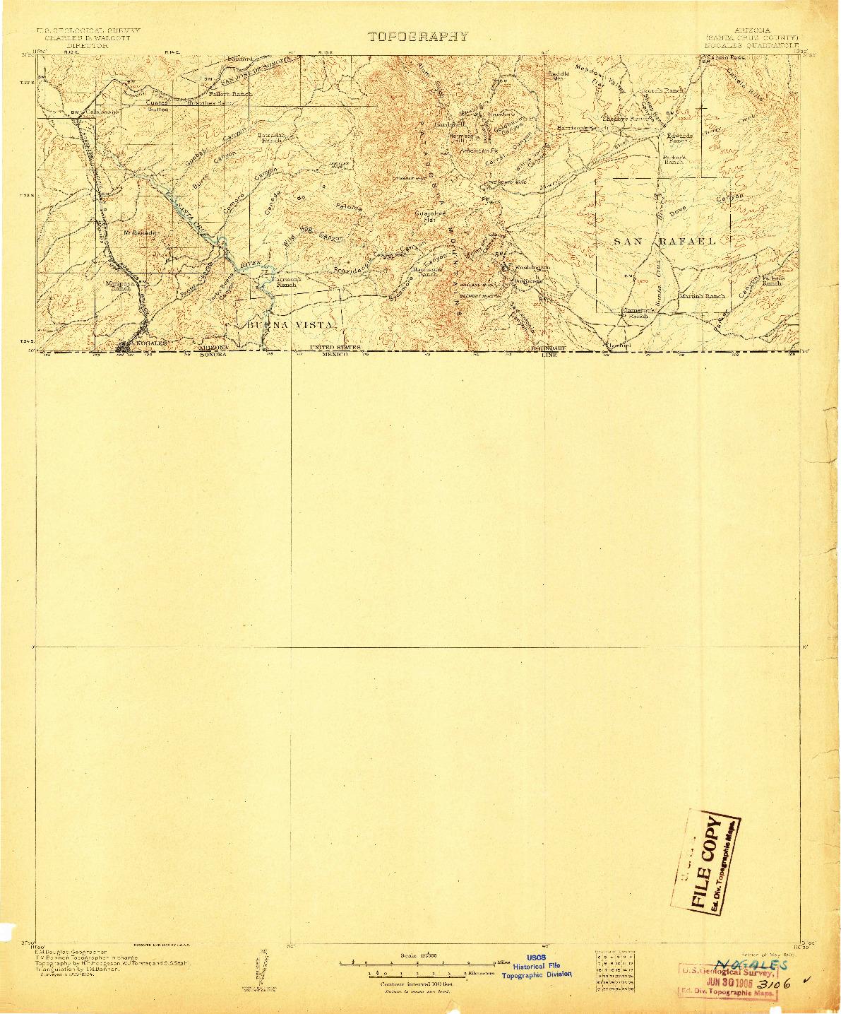 USGS 1:125000-SCALE QUADRANGLE FOR NOGALES, AZ 1905
