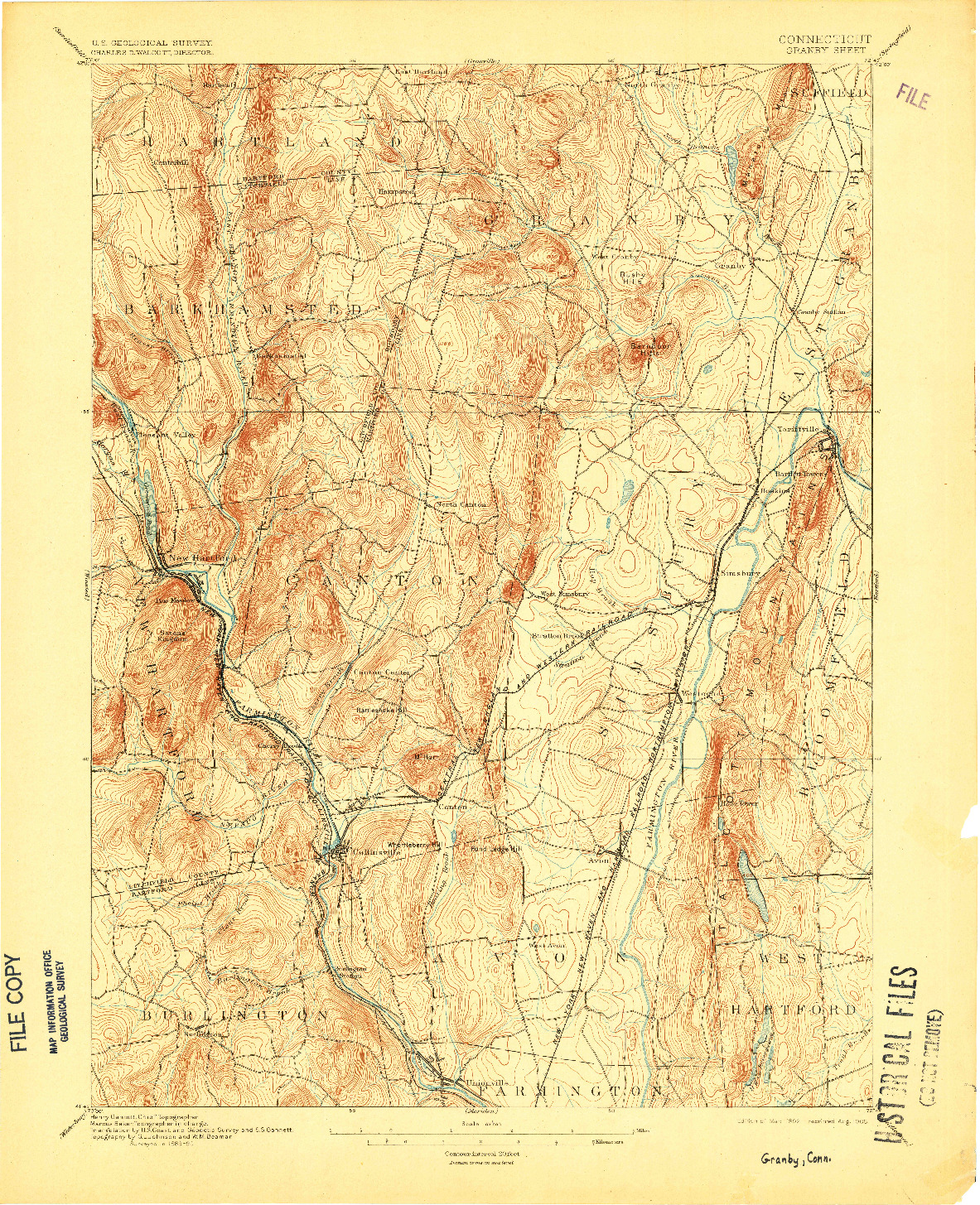 USGS 1:62500-SCALE QUADRANGLE FOR GRANBY, CT 1892