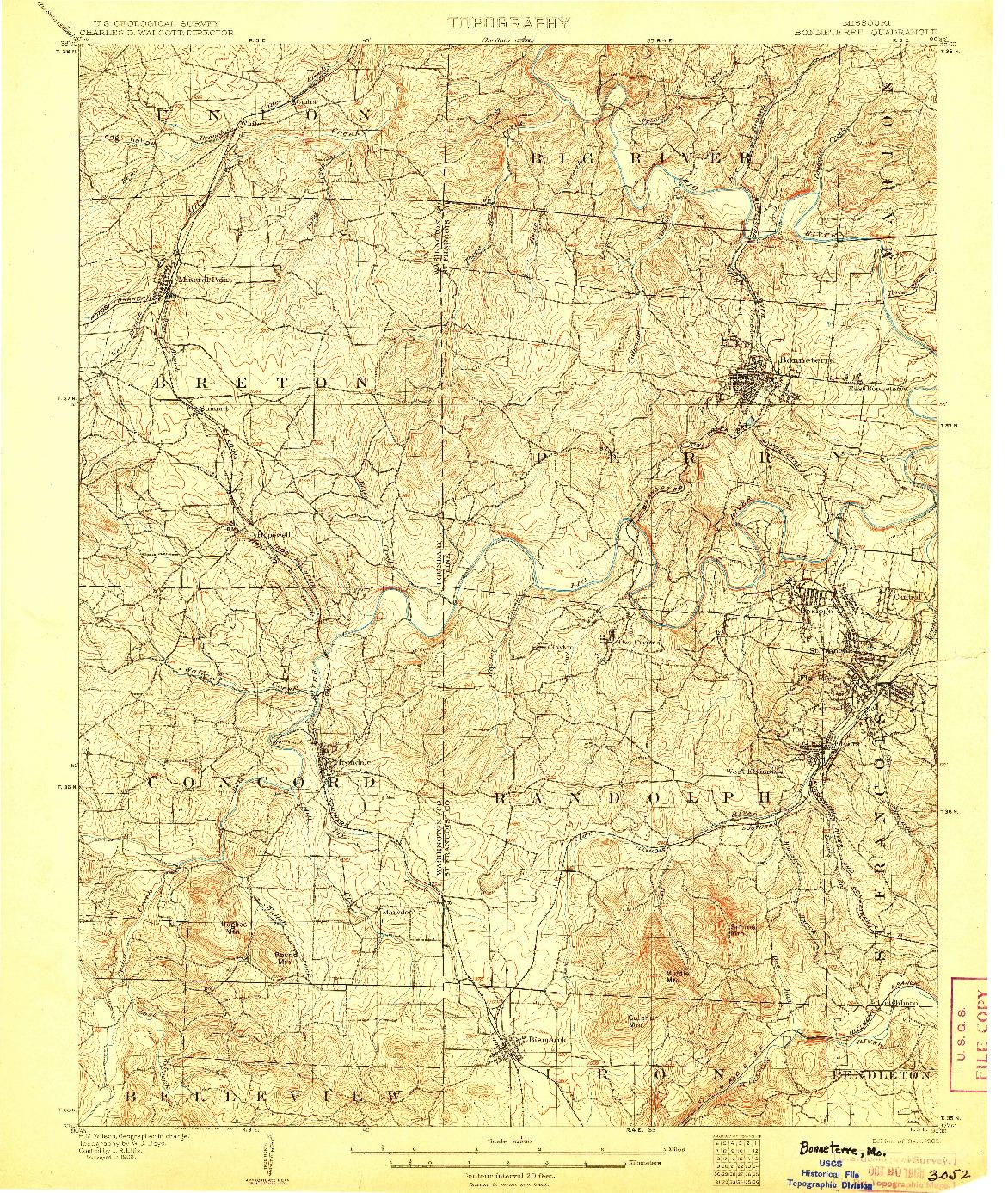 USGS 1:62500-SCALE QUADRANGLE FOR BONNETERRE, MO 1905
