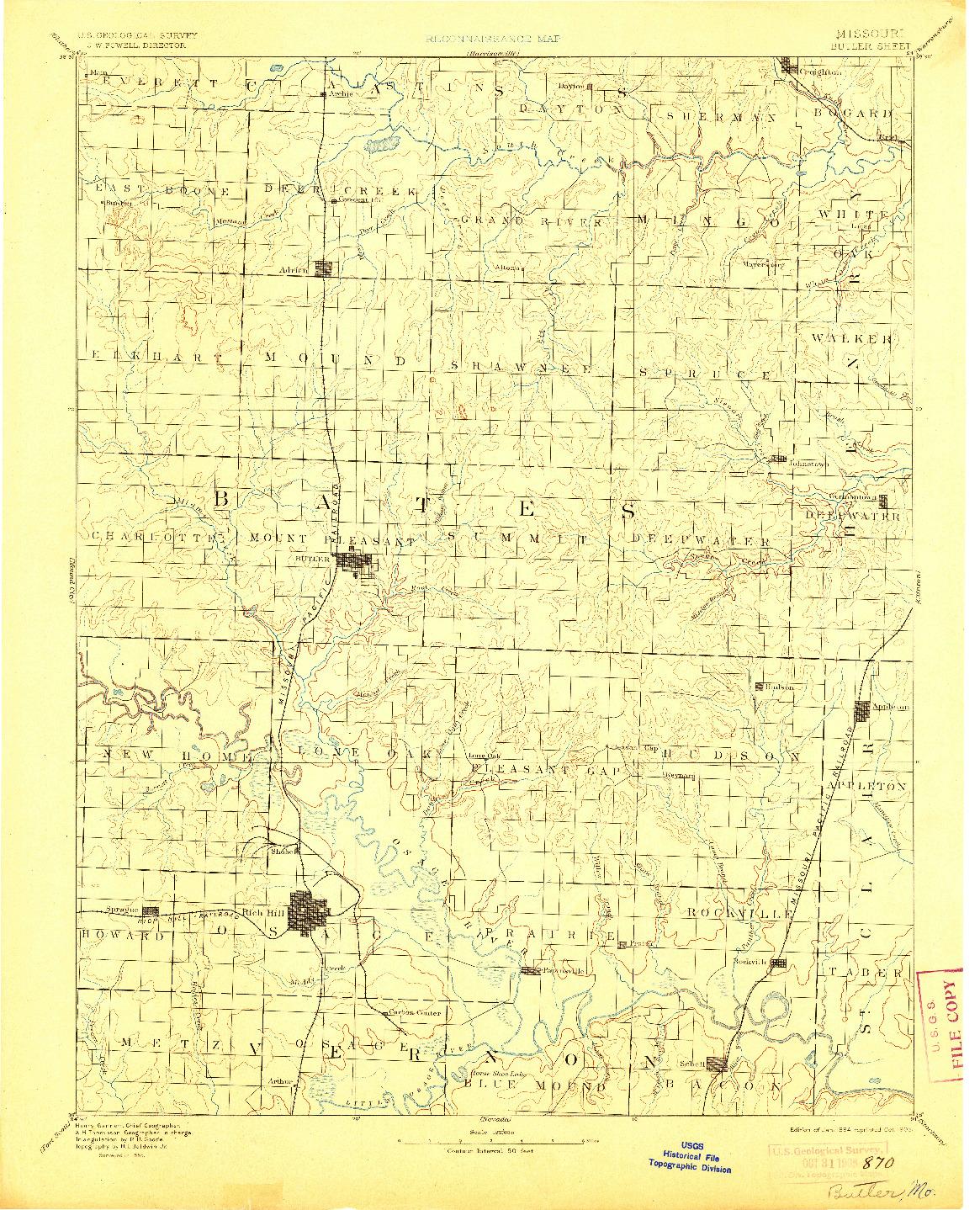USGS 1:125000-SCALE QUADRANGLE FOR BUTLER, MO 1894