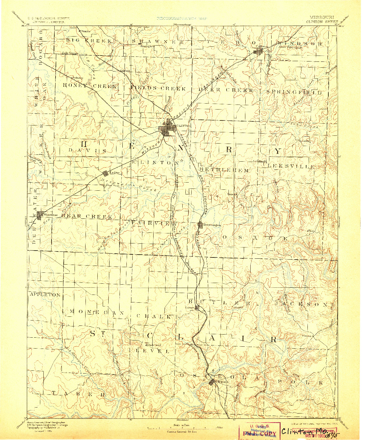 USGS 1:125000-SCALE QUADRANGLE FOR CLINTON, MO 1894