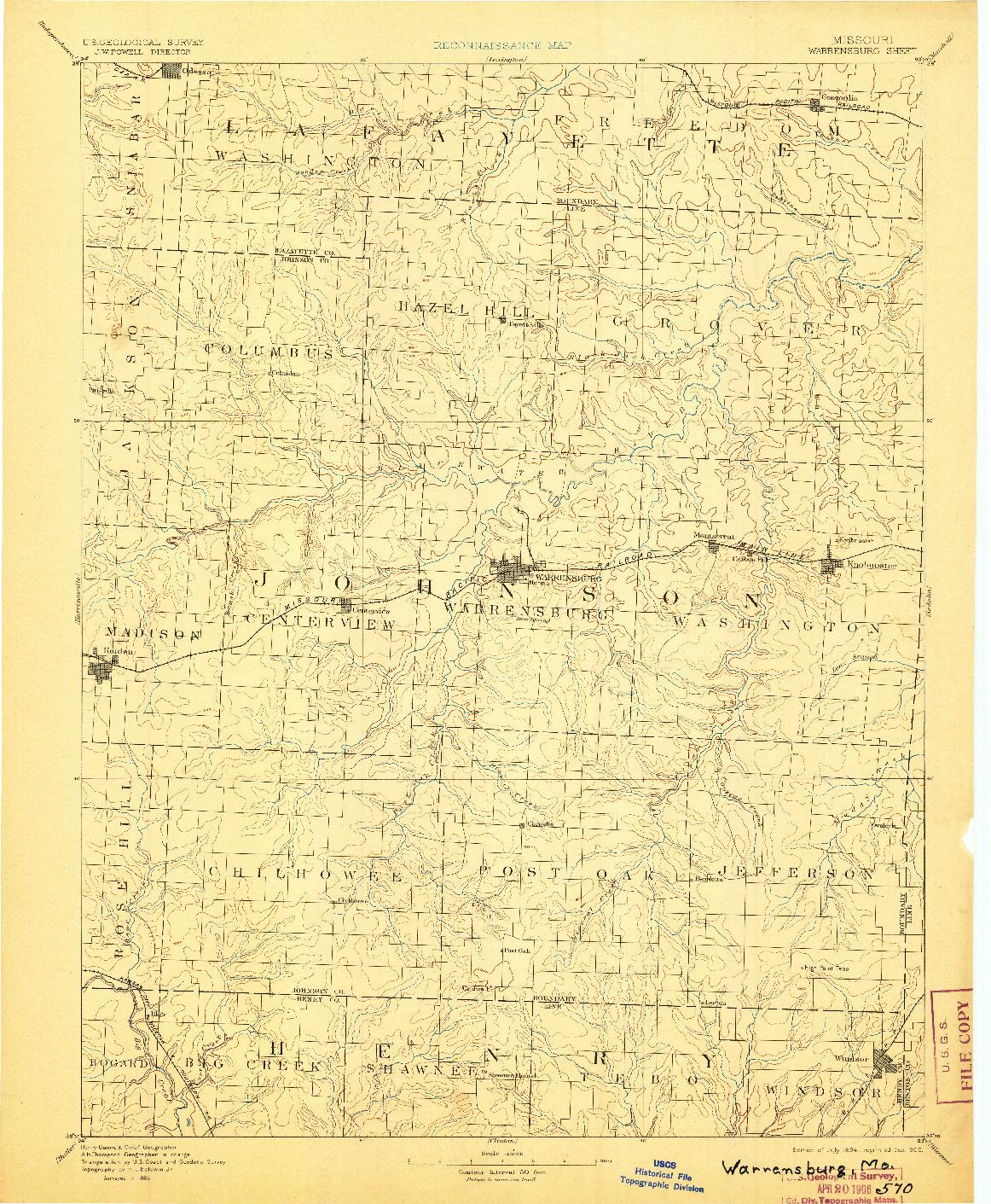 USGS 1:125000-SCALE QUADRANGLE FOR WARRENSBURG, MO 1894