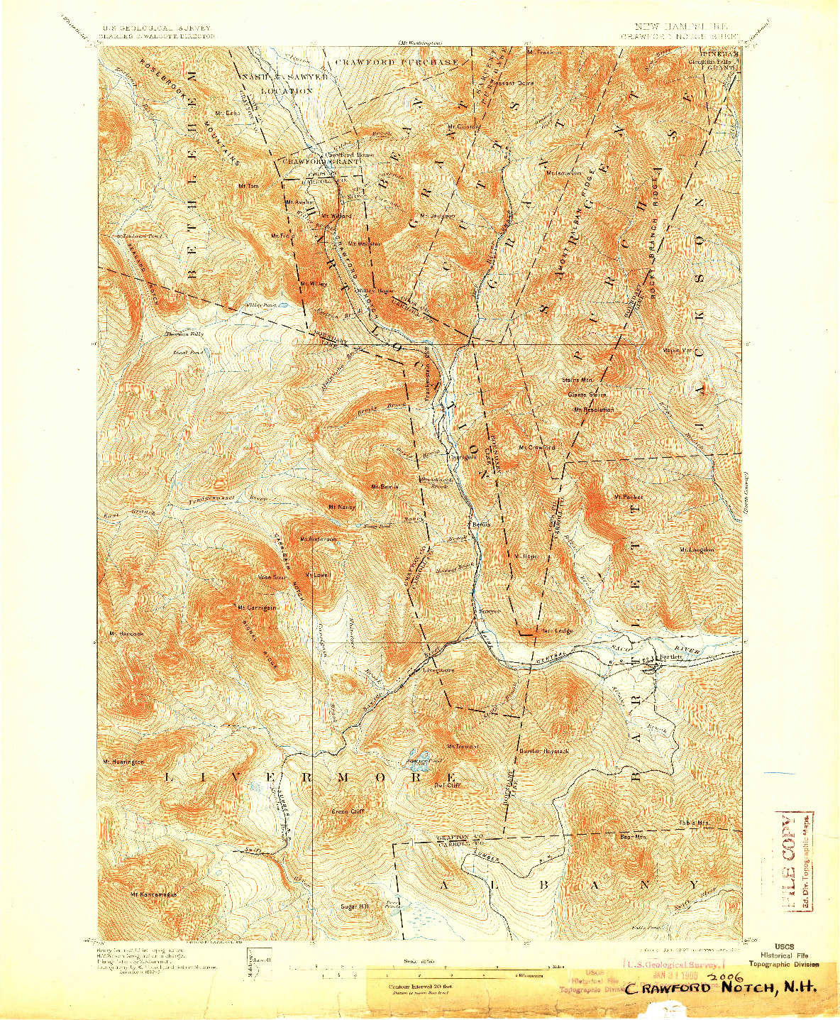 USGS 1:62500-SCALE QUADRANGLE FOR CRAWFORD NOTCH, NH 1896