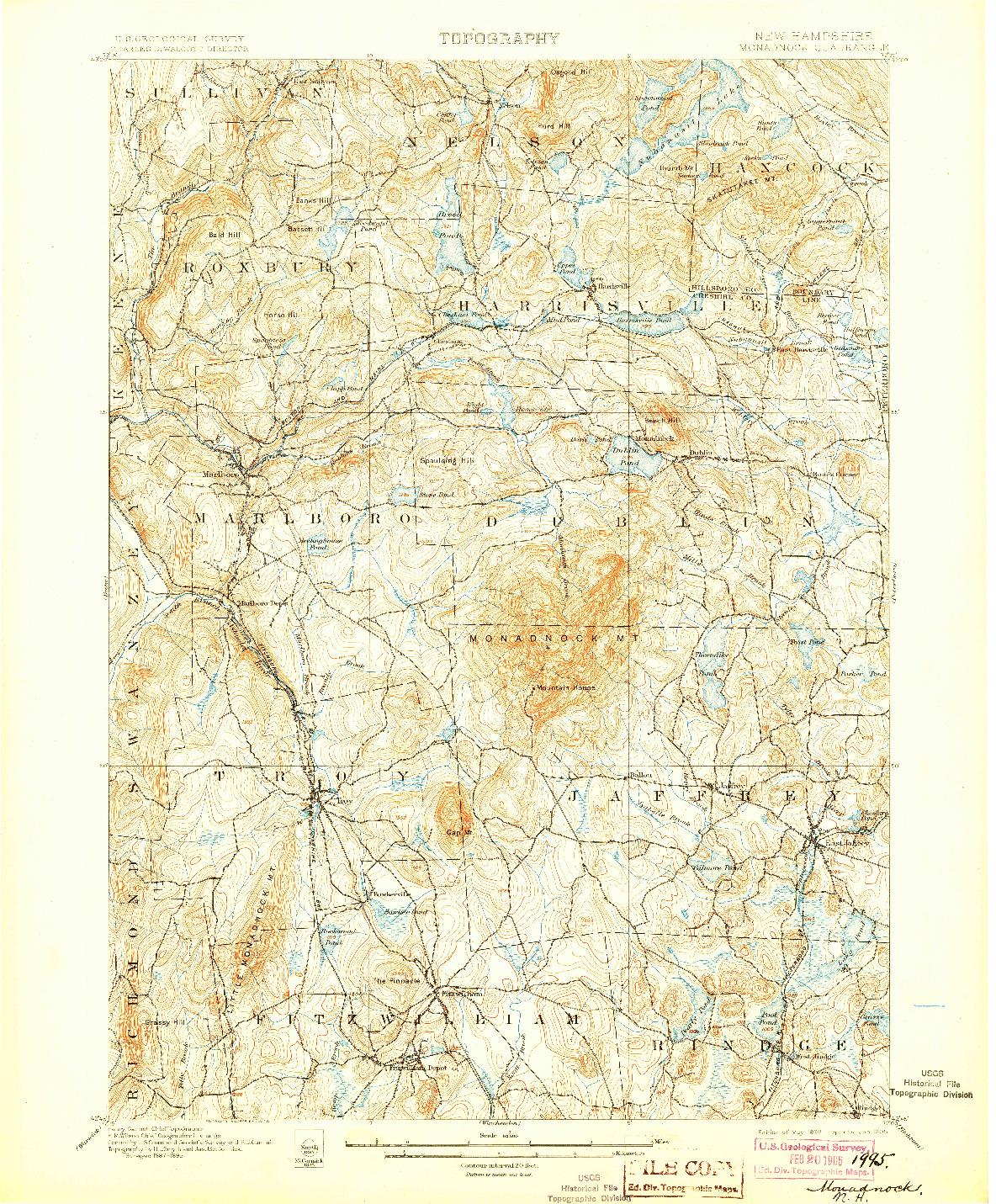 USGS 1:62500-SCALE QUADRANGLE FOR MONADNOCK, NH 1898