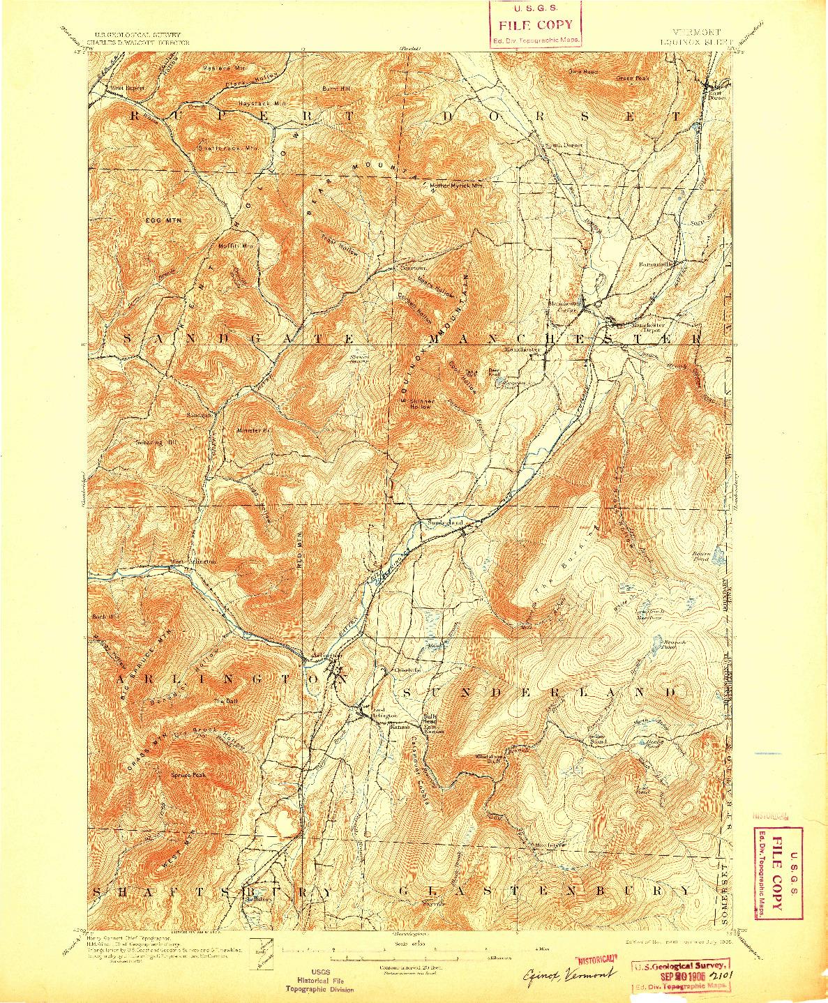 USGS 1:62500-SCALE QUADRANGLE FOR EQUINOX, VT 1900