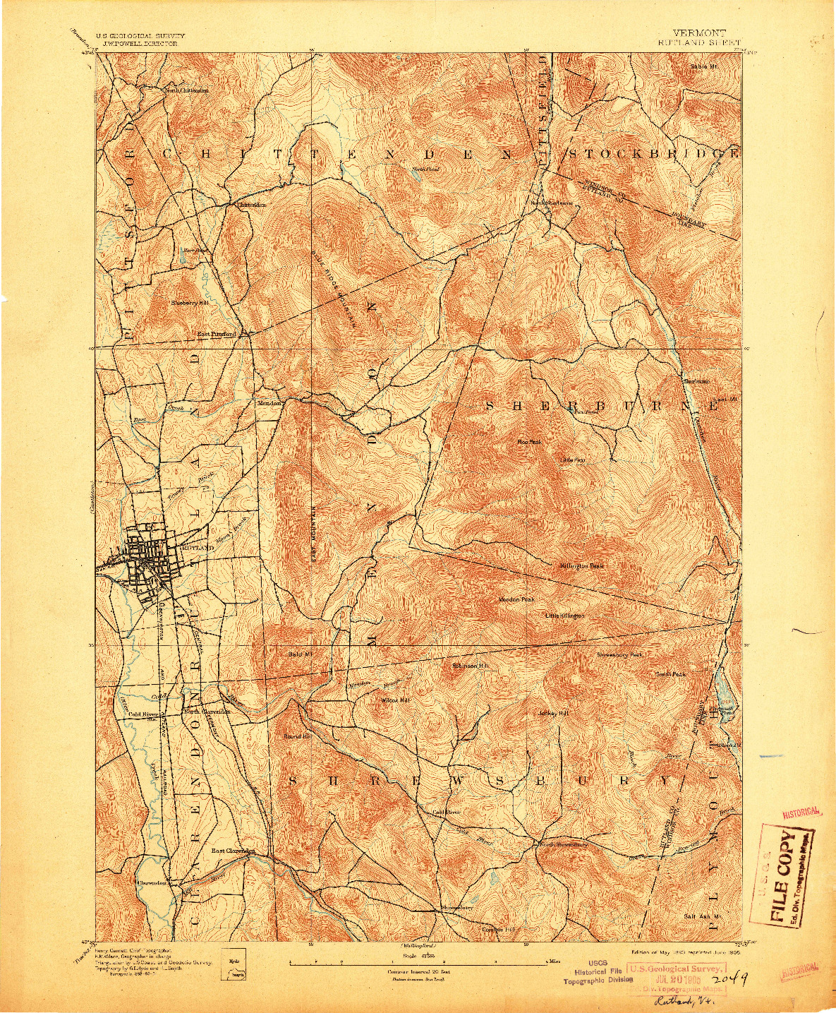 USGS 1:62500-SCALE QUADRANGLE FOR RUTLAND, VT 1893